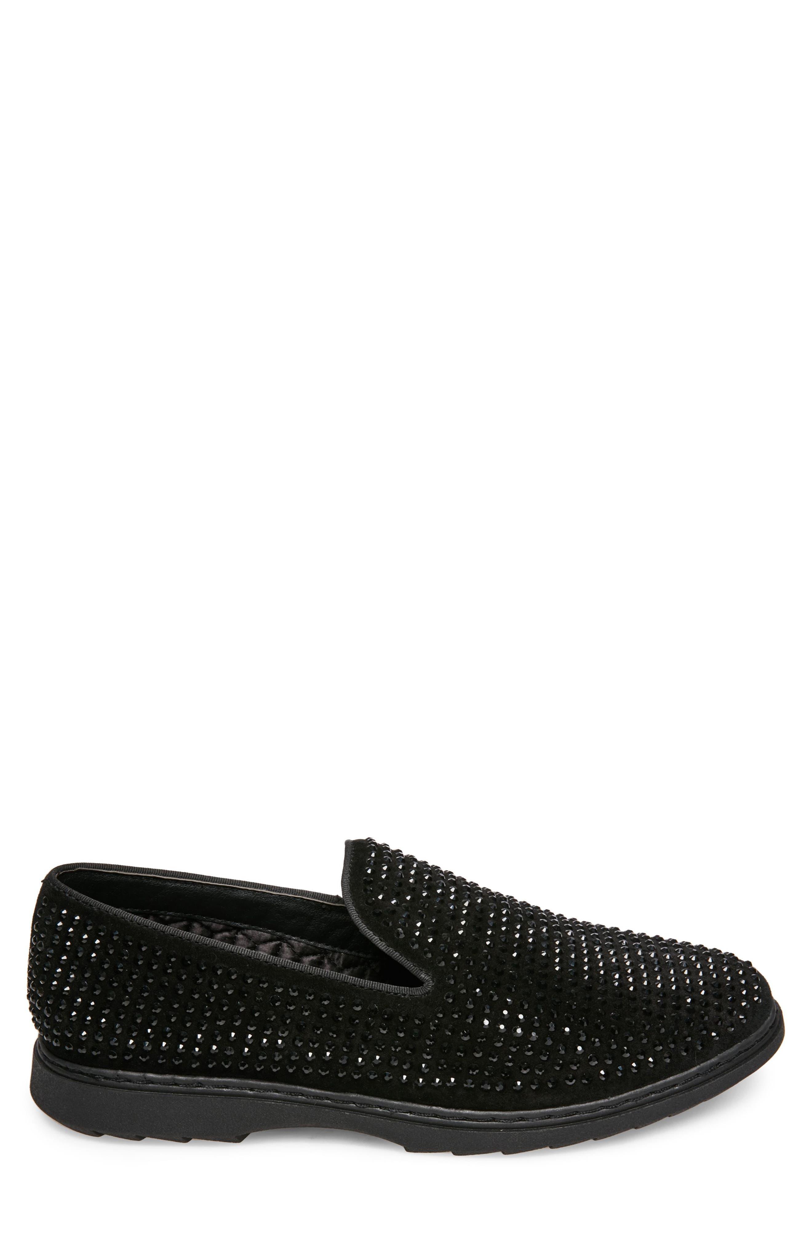 Grinder Embellished Venetian Loafer,                             Alternate thumbnail 3, color,                             BLACK LEATHER