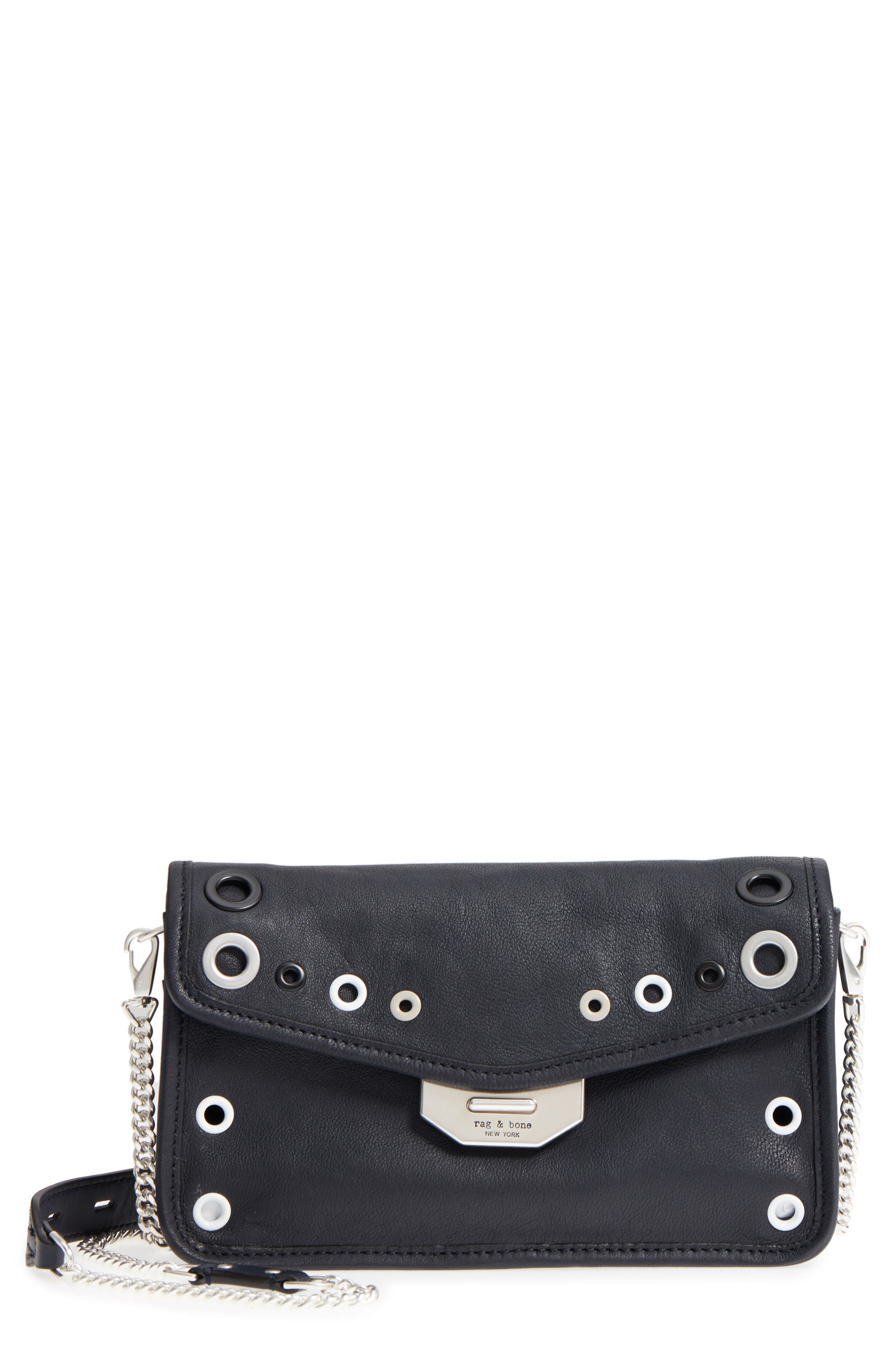 Leather Field Clutch,                         Main,                         color, NAVY GROMMET