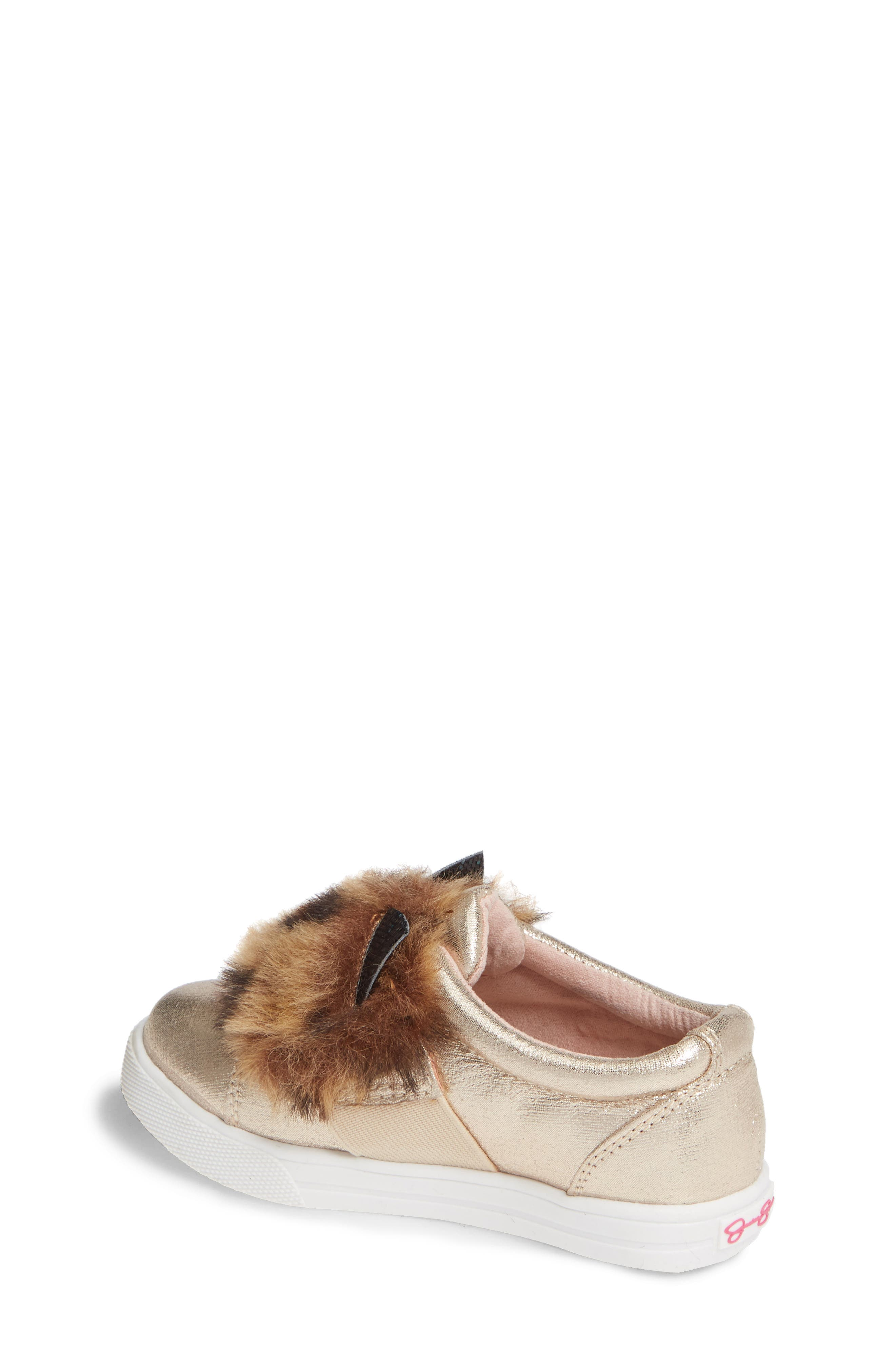 Faux Fur Slip-On Metallic Sneaker,                             Alternate thumbnail 2, color,                             GOLDEN METALLIC