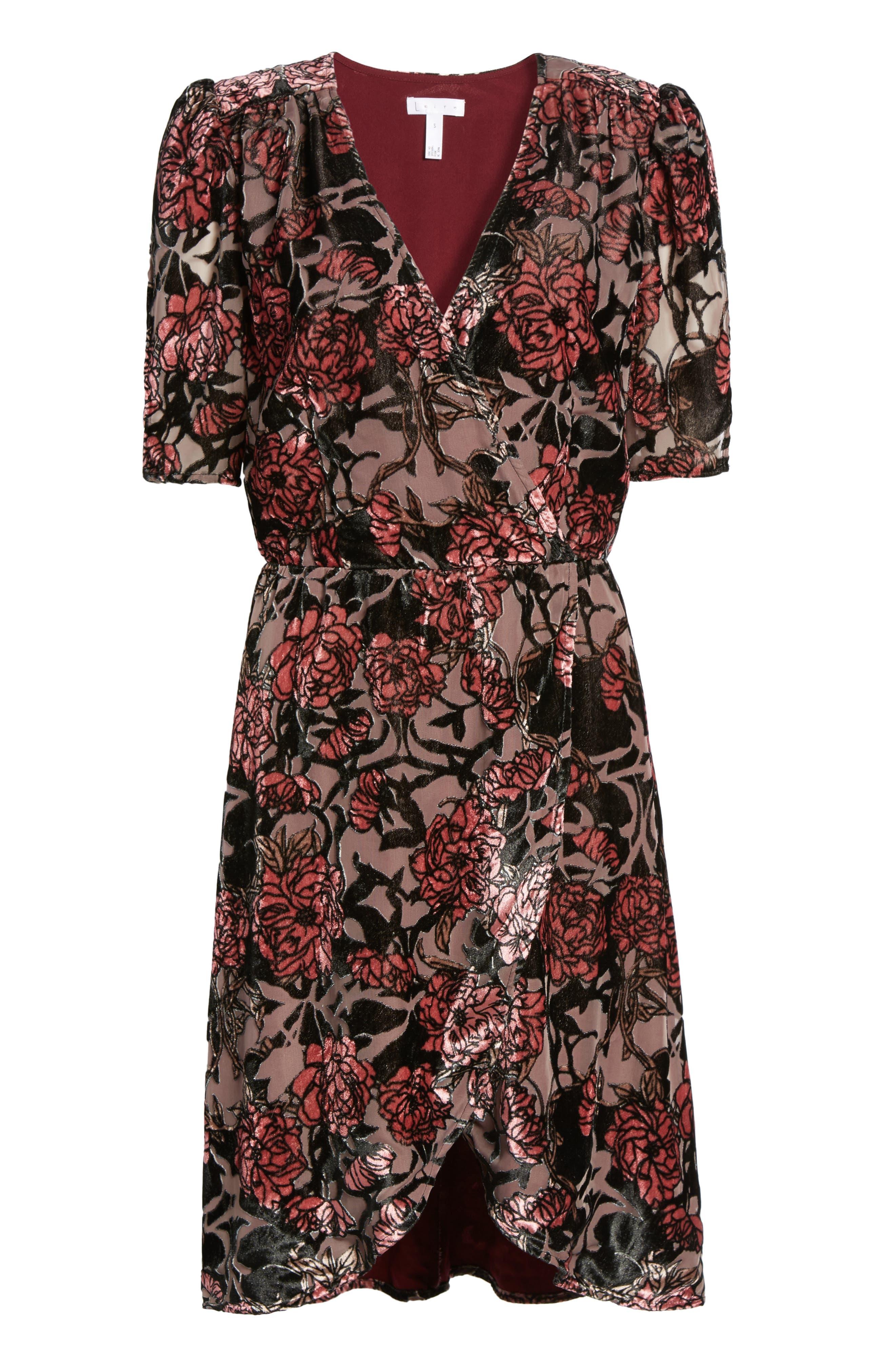 Burnout Velvet A-Line Dress,                             Alternate thumbnail 6, color,                             001