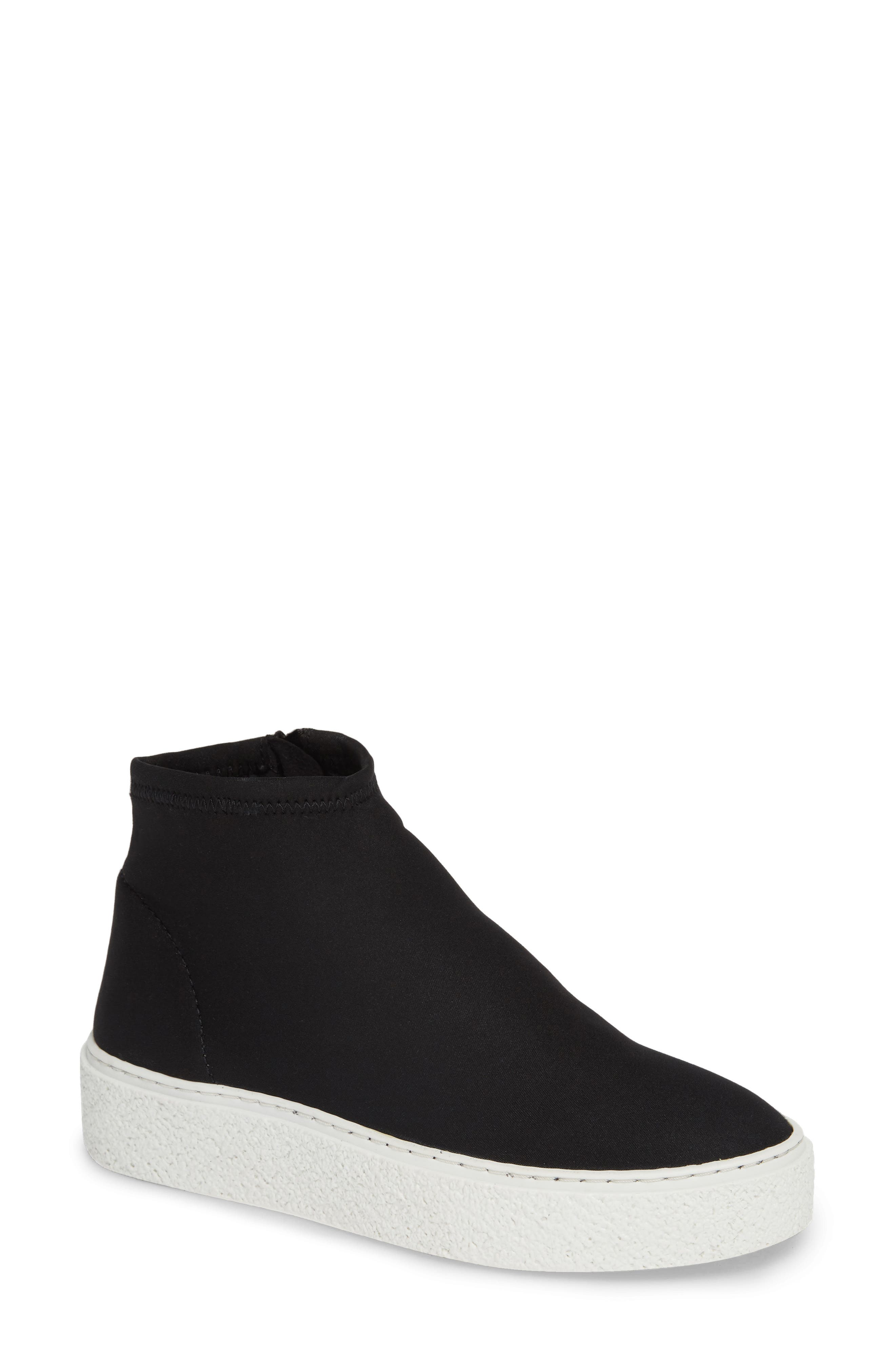 Inventive High Top Sneaker,                             Main thumbnail 1, color,                             BLACK NEOPRENE FABRIC