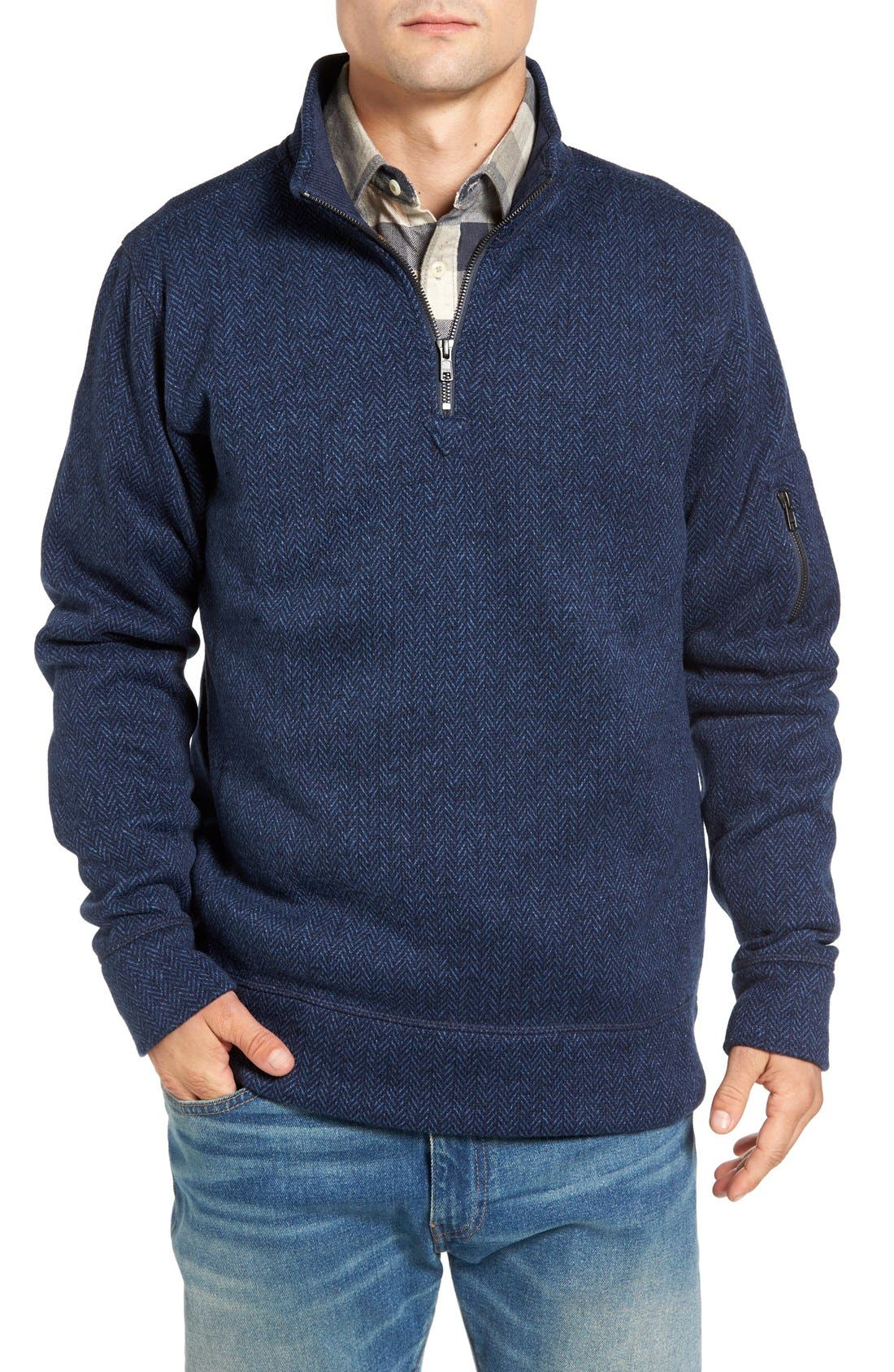 Lance Herringbone Zip Mock Neck Sweater,                             Main thumbnail 5, color,