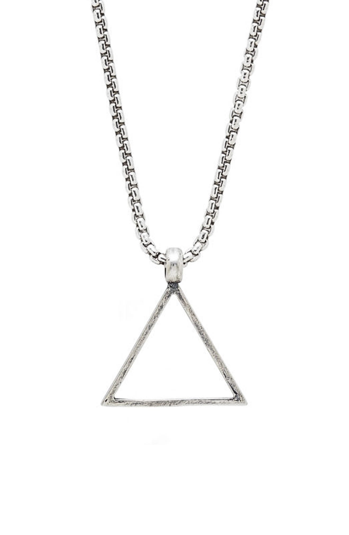 Triangle Pendant Necklace,                             Main thumbnail 1, color,                             SILVER