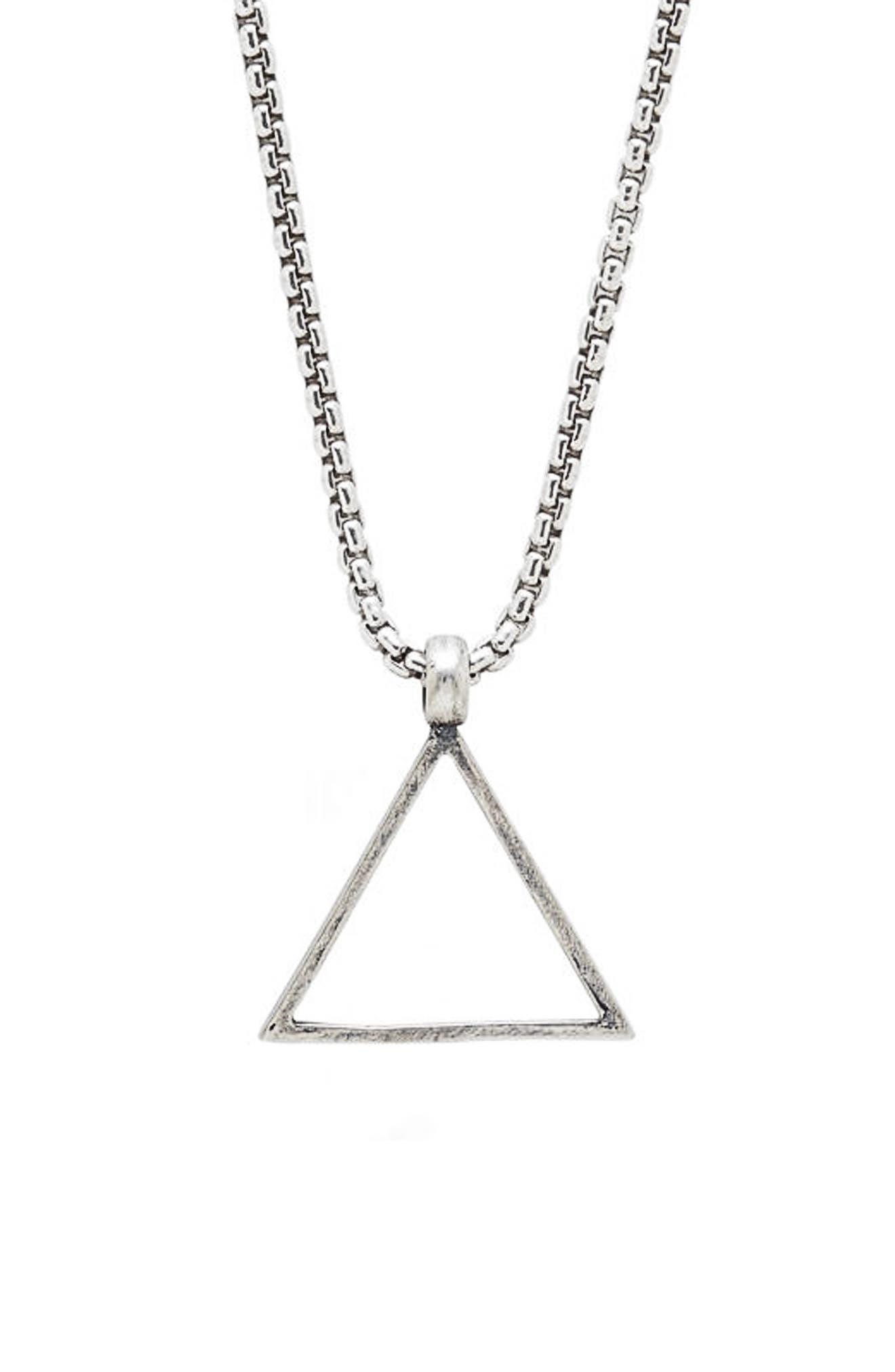 Triangle Pendant Necklace,                         Main,                         color, SILVER