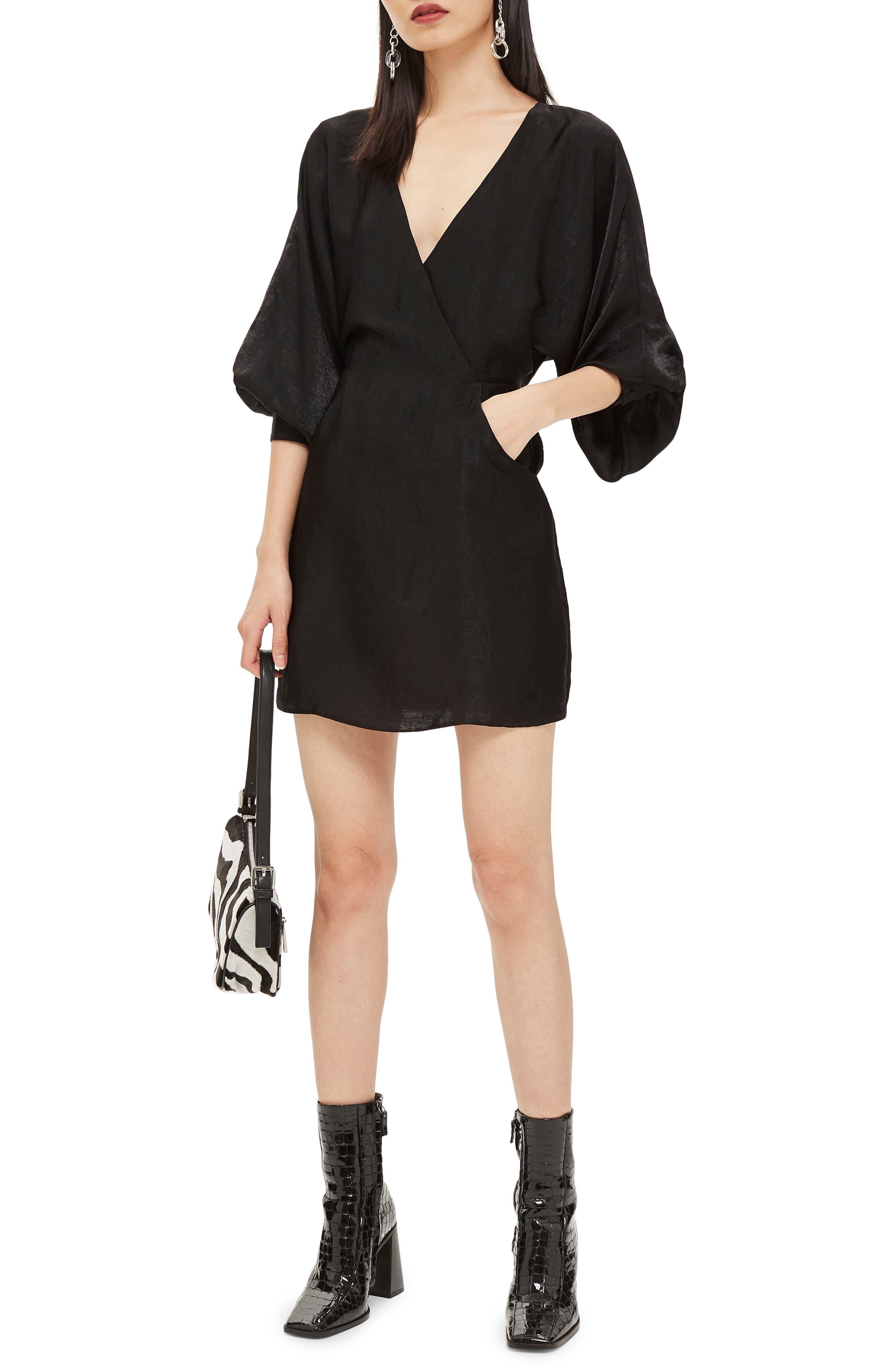 Velvet Satin Minidress,                         Main,                         color, BLACK