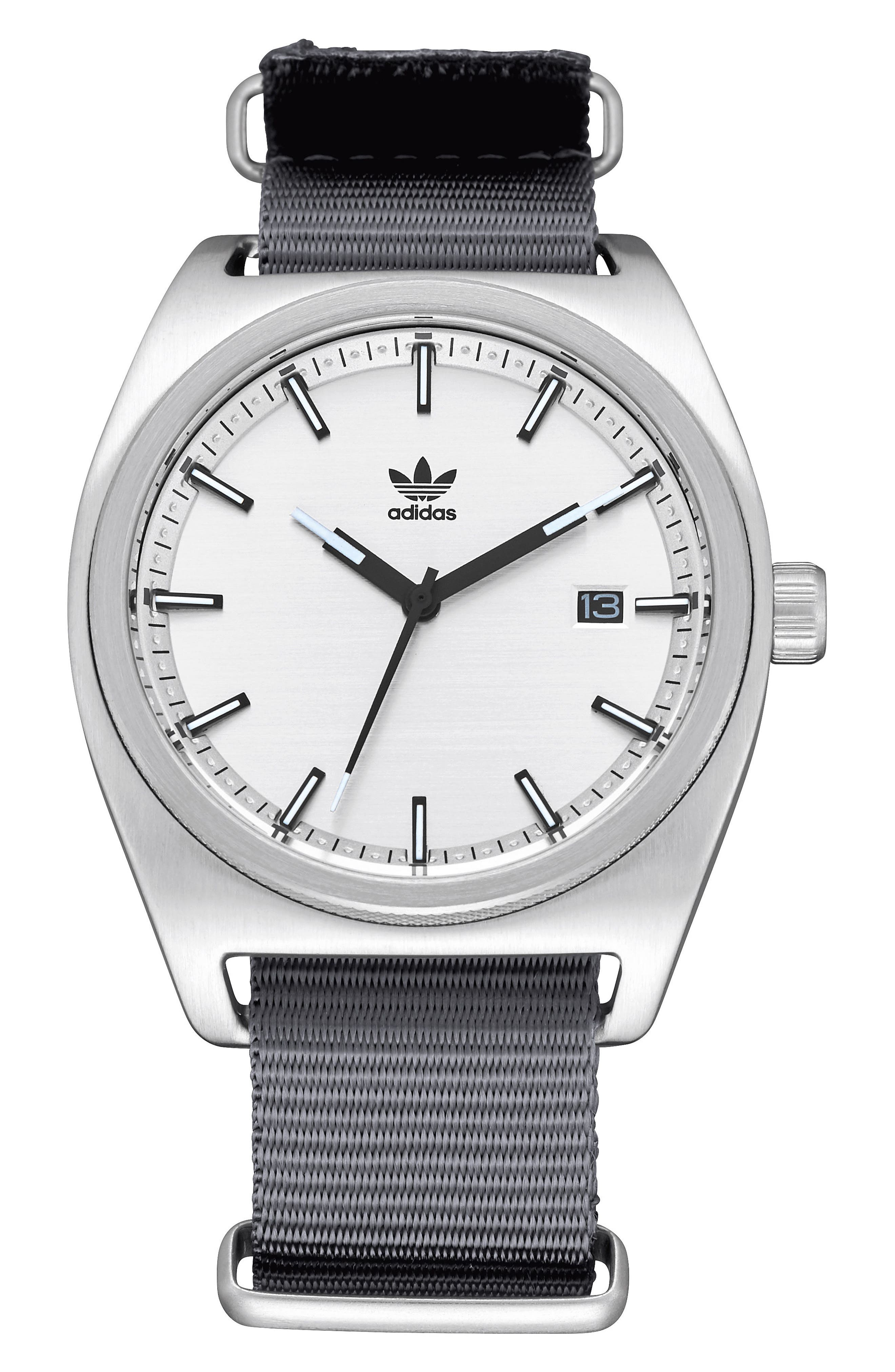 Process NATO Strap Watch, 38mm,                         Main,                         color, GREY/ BLACK/ SILVER