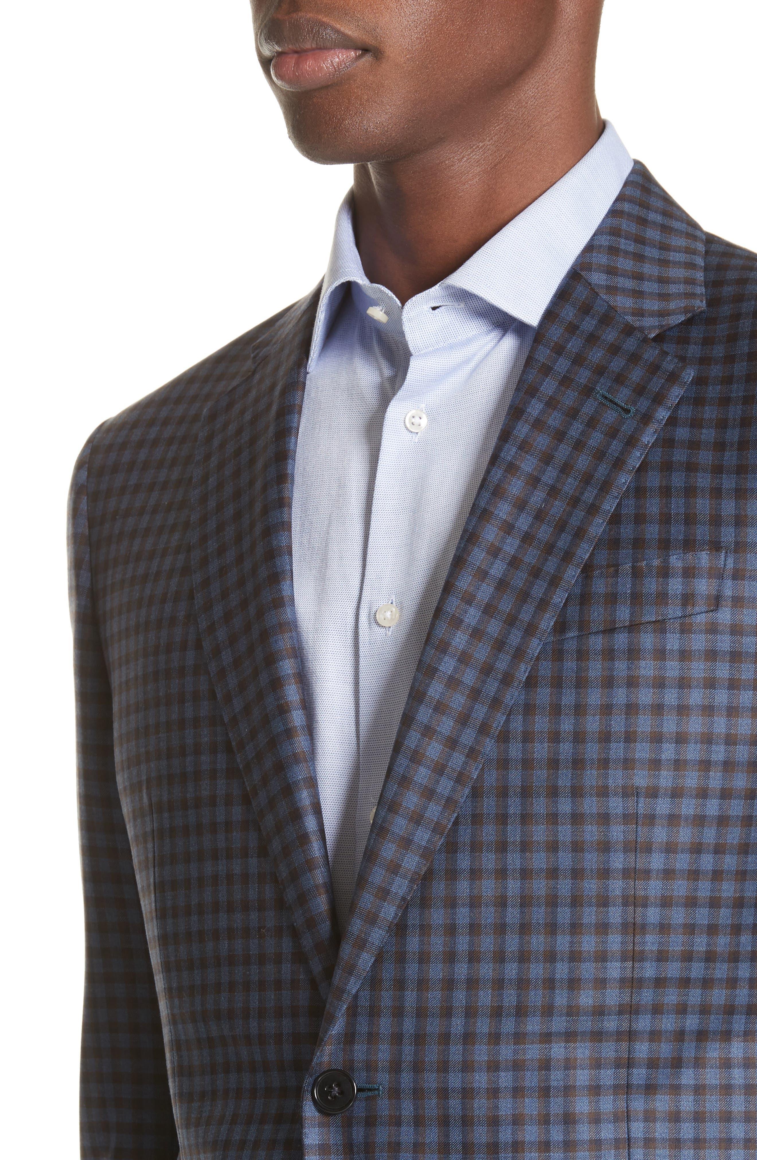 G Line Trim Fit Check Wool Sport Coat,                             Alternate thumbnail 4, color,                             443