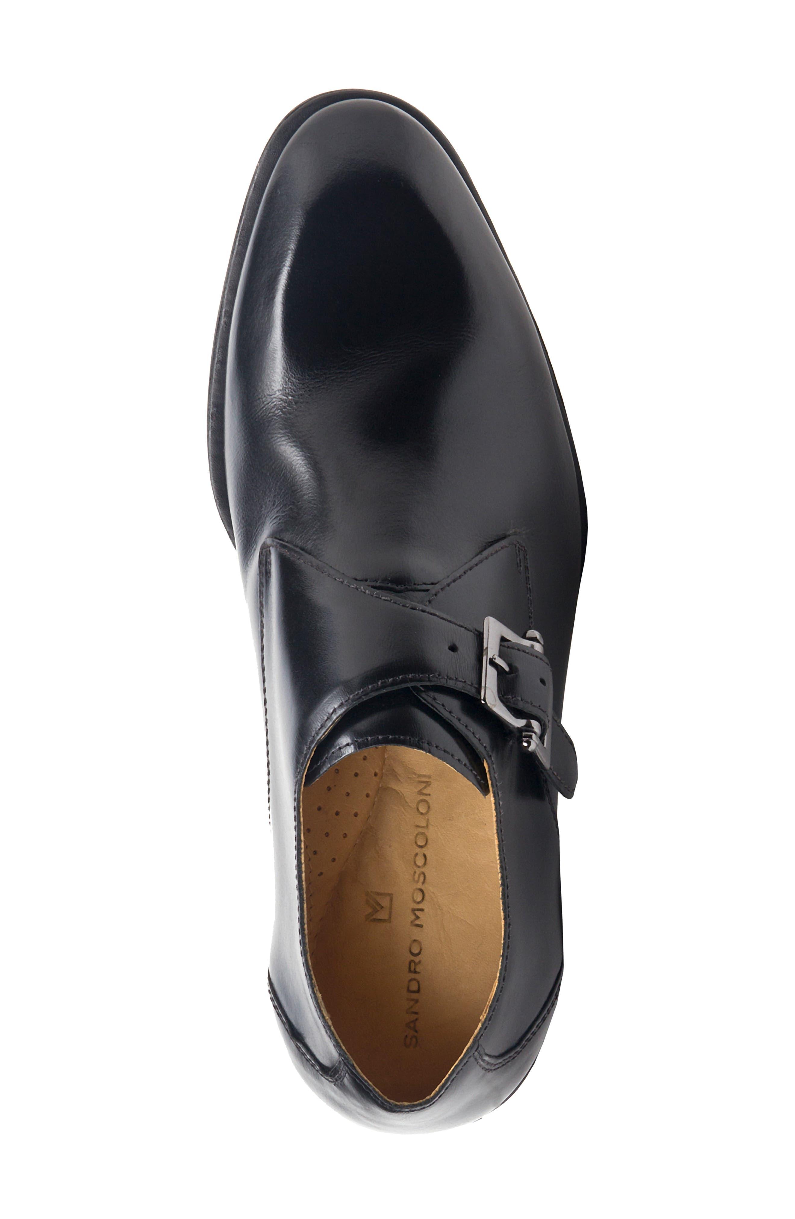 Wendell Single Buckle Monk Shoe,                             Alternate thumbnail 5, color,                             BLACK LEATHER