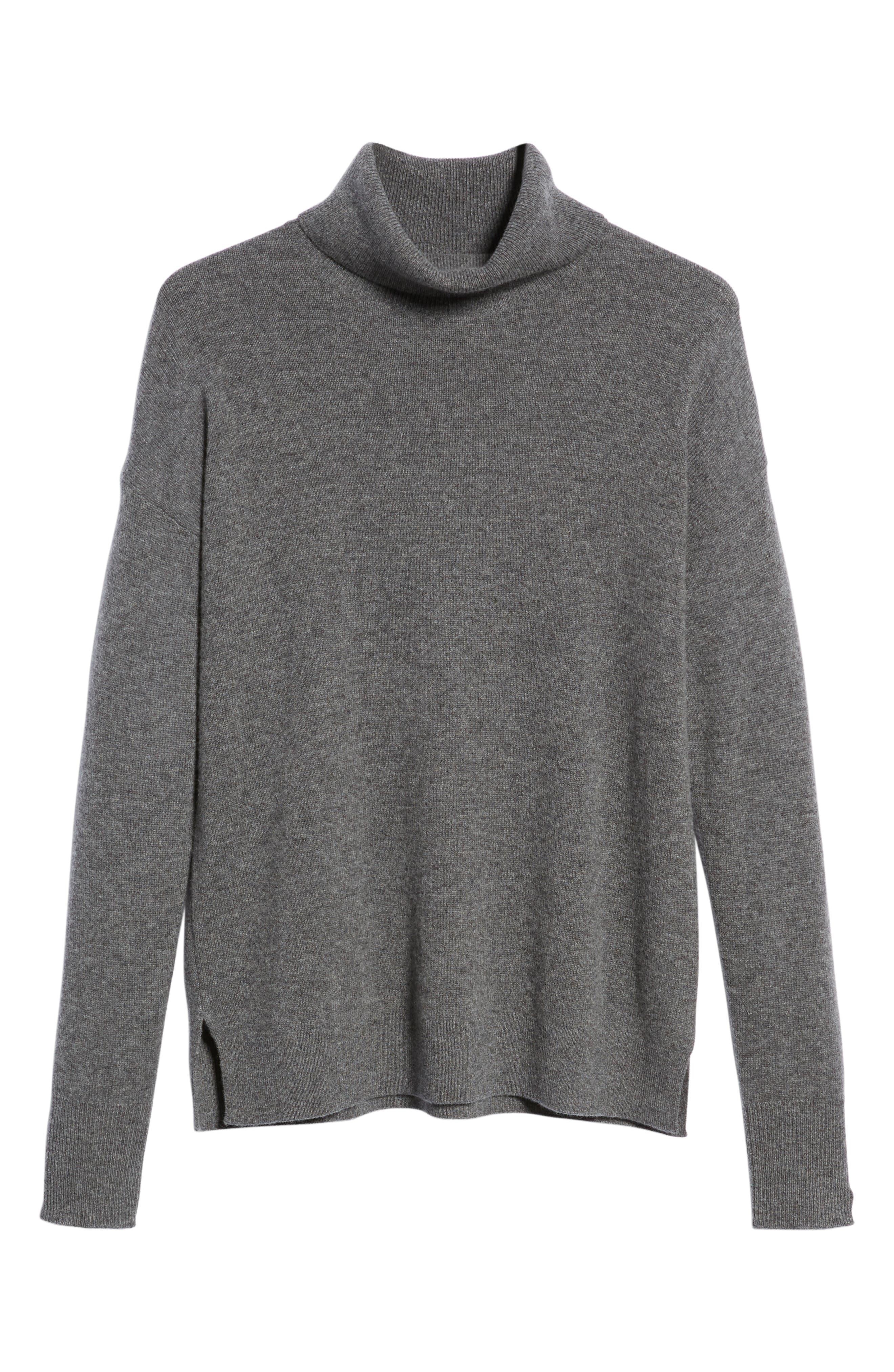 Cashmere Turtleneck Sweater, Alternate, color, GREY DARK HEATHER