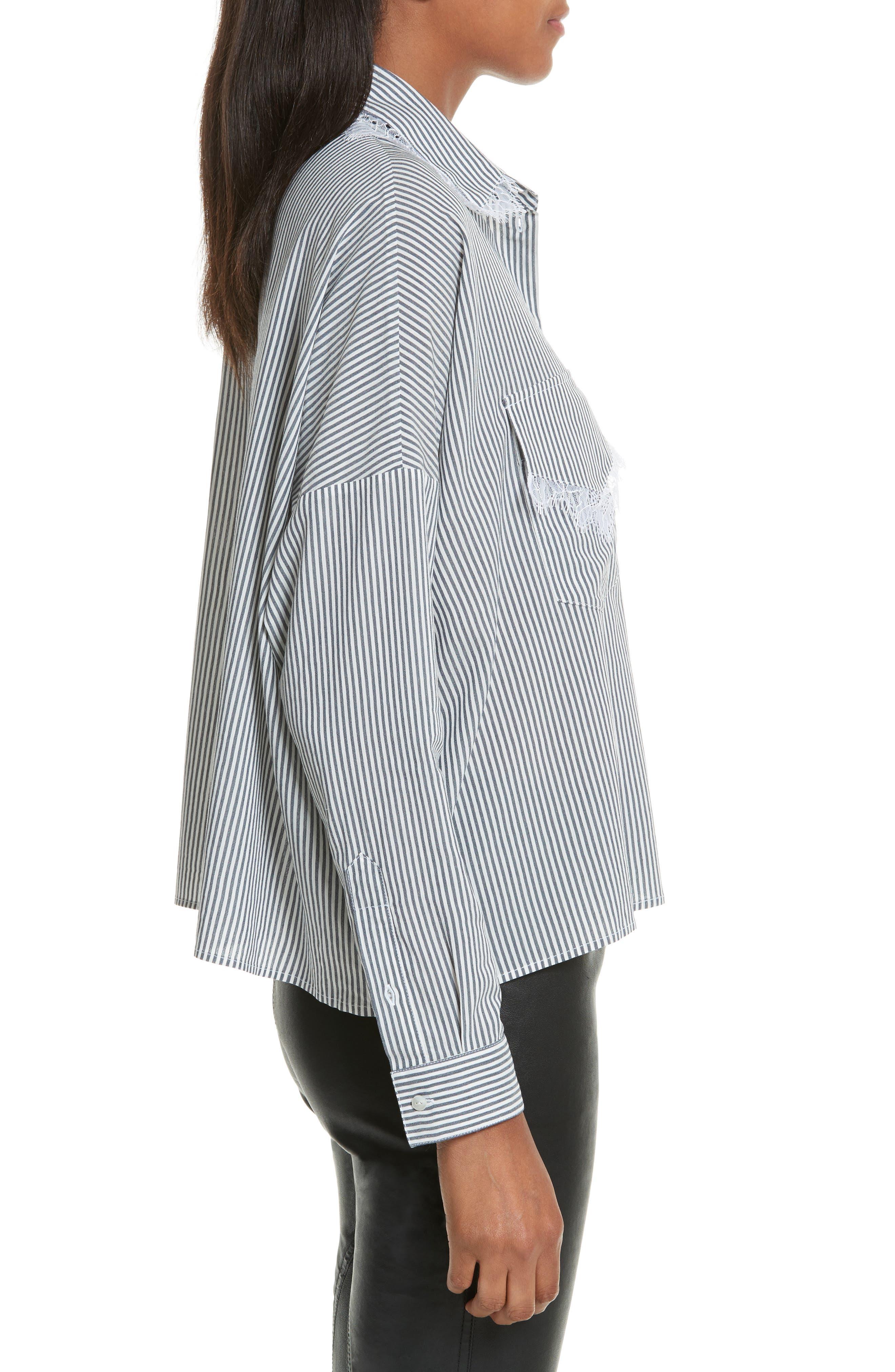 James Lace Trim Stripe Shirt,                             Alternate thumbnail 3, color,                             400