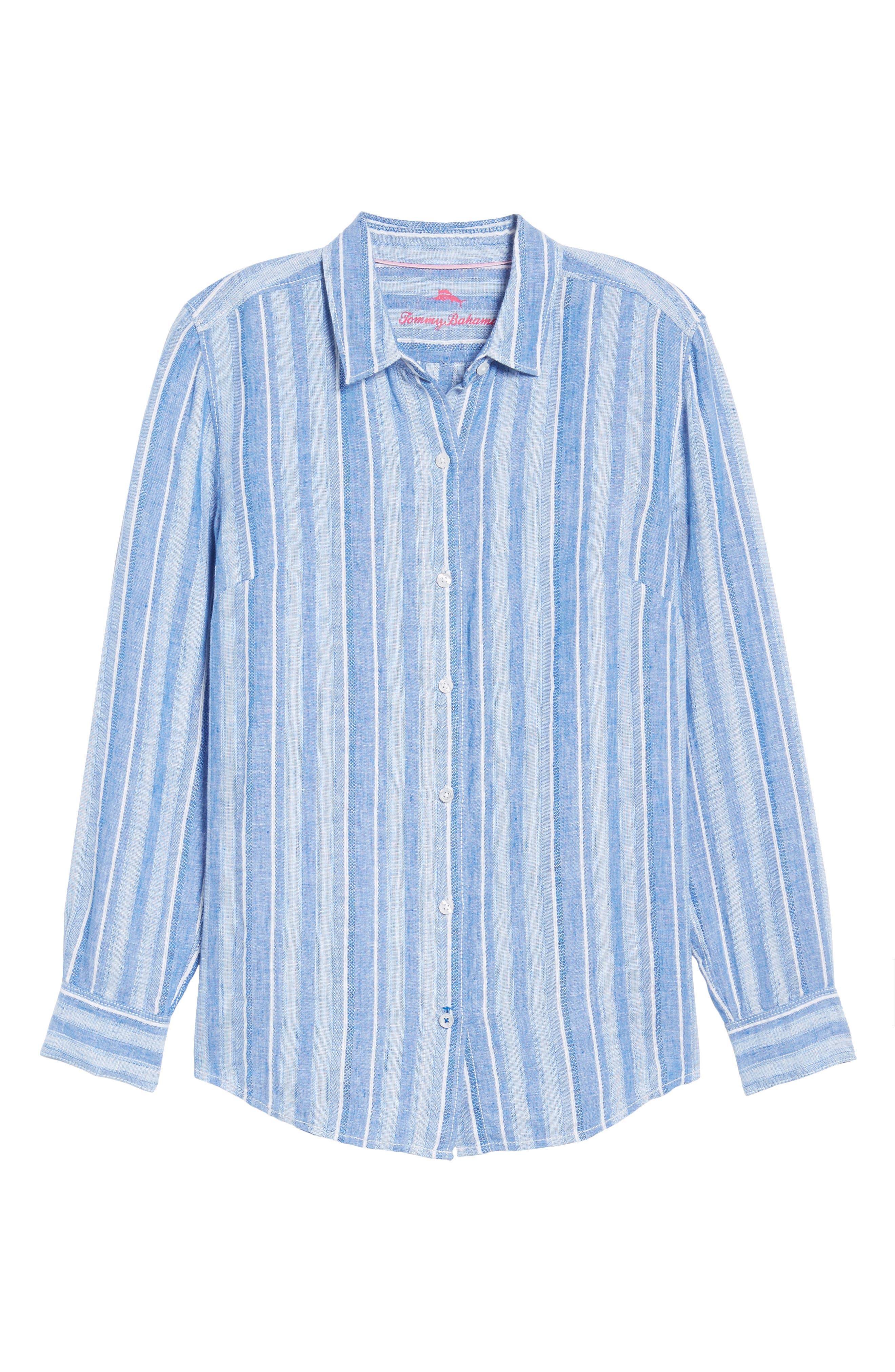 Santiago Stripe Linen Blend Shirt,                             Alternate thumbnail 6, color,                             BLUE SEA