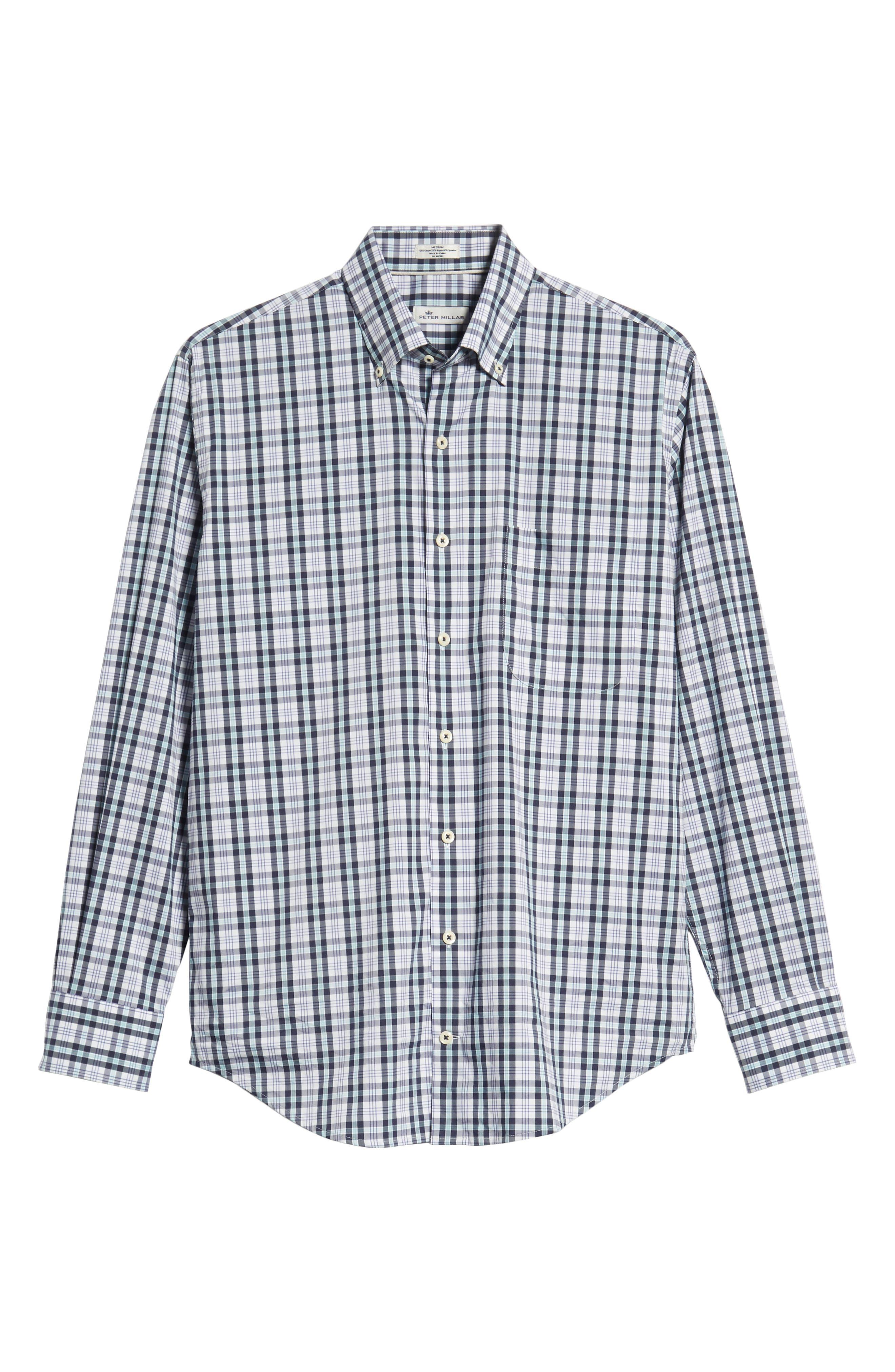 Moritz Check Sport Shirt,                             Alternate thumbnail 5, color,                             NAVY
