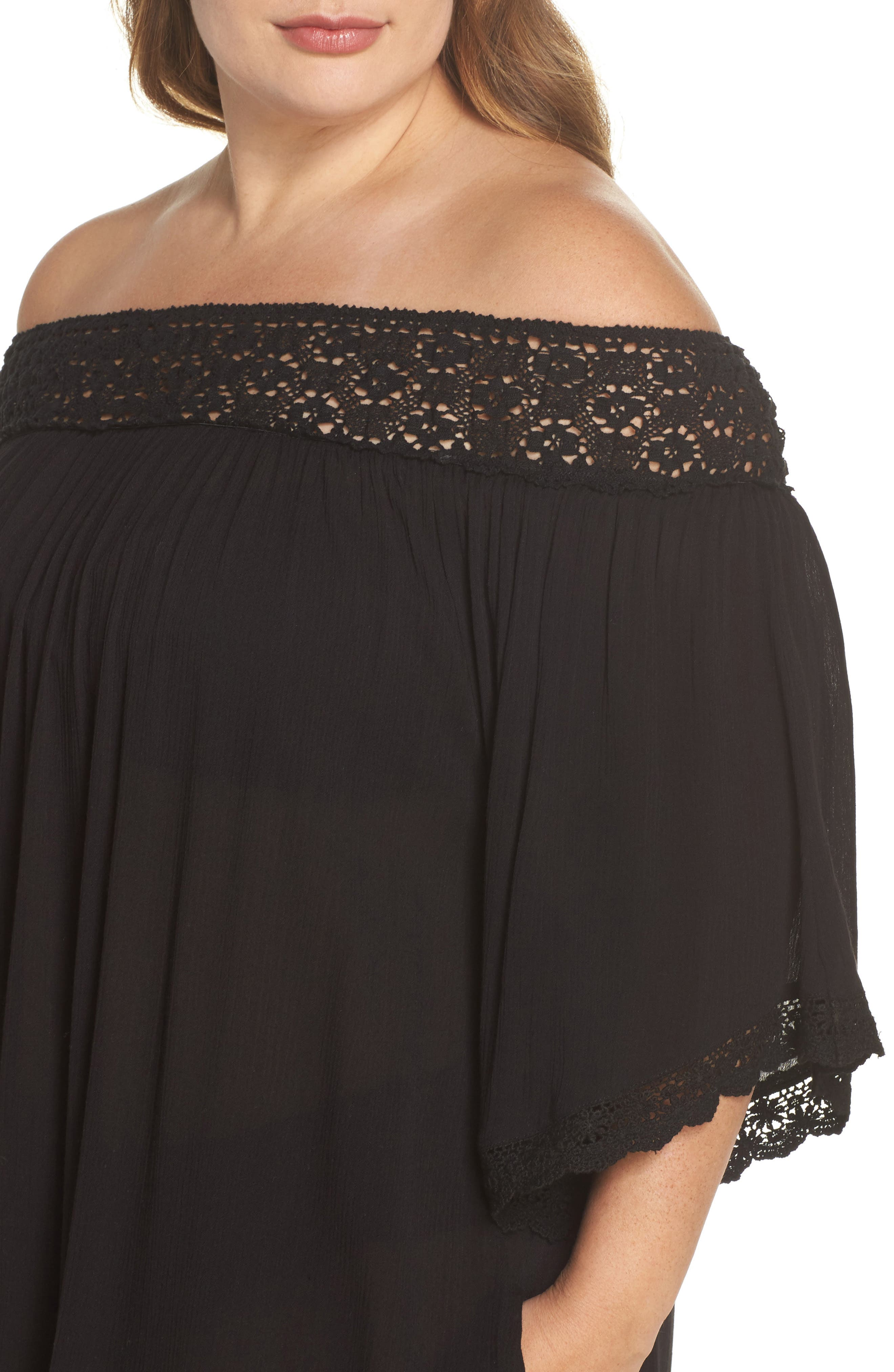 Rimini Crochet Cover-Up Dress,                             Alternate thumbnail 4, color,                             001