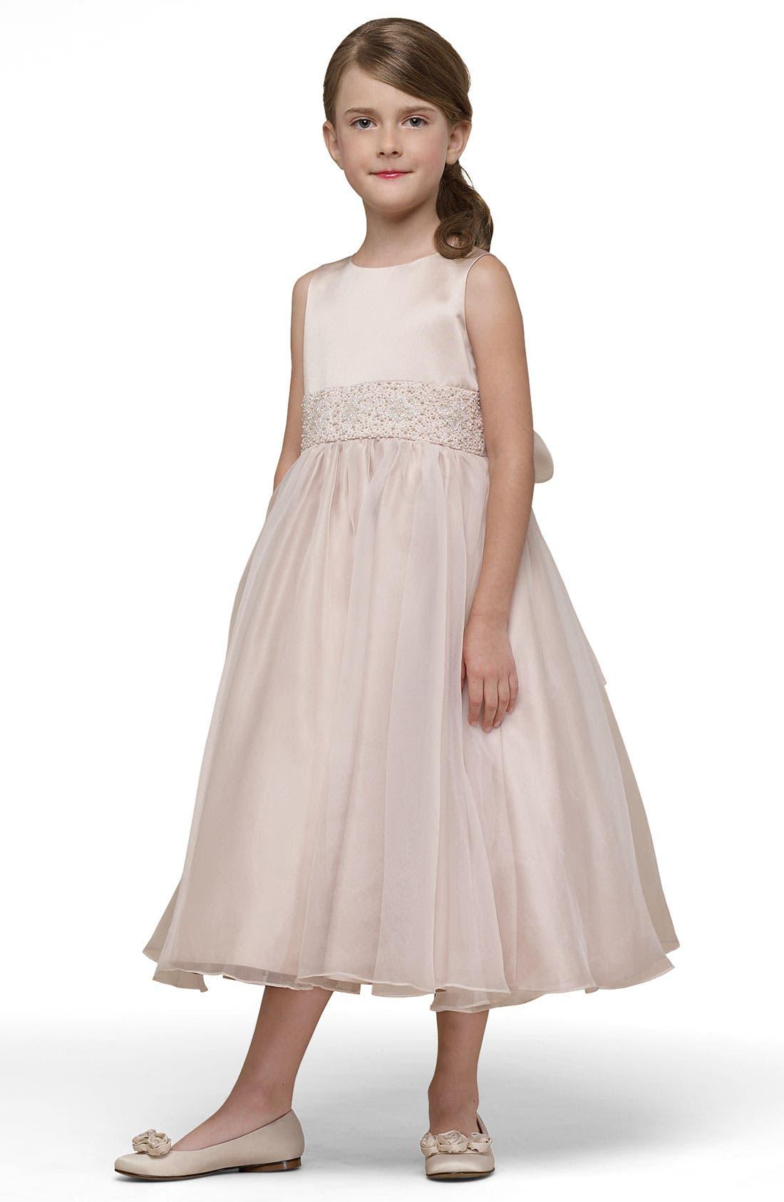 Beaded Satin Sleeveless Dress,                         Main,                         color, CHAMPAGNE