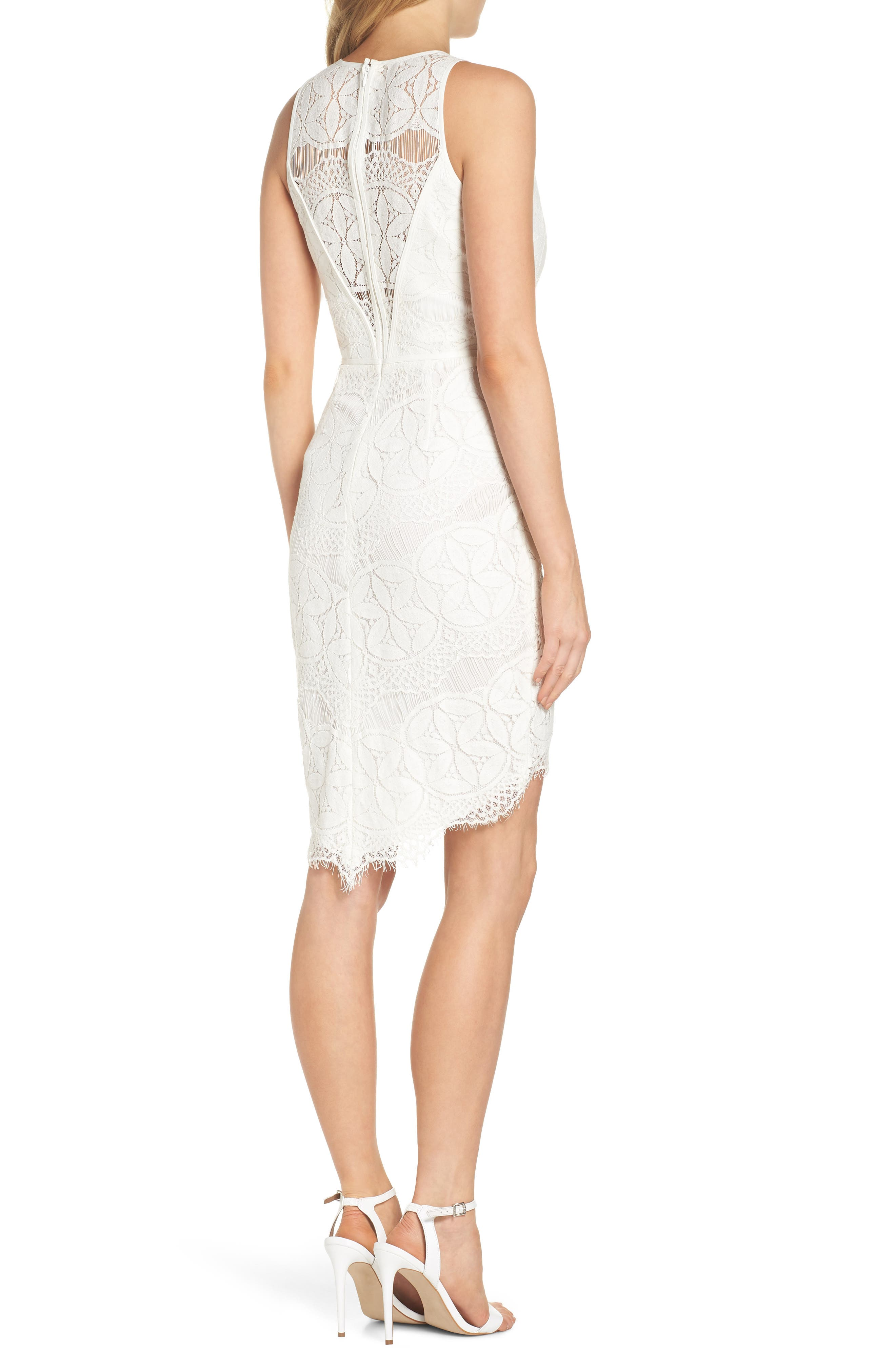 Lace High/Low Sheath Dress,                             Alternate thumbnail 2, color,                             100