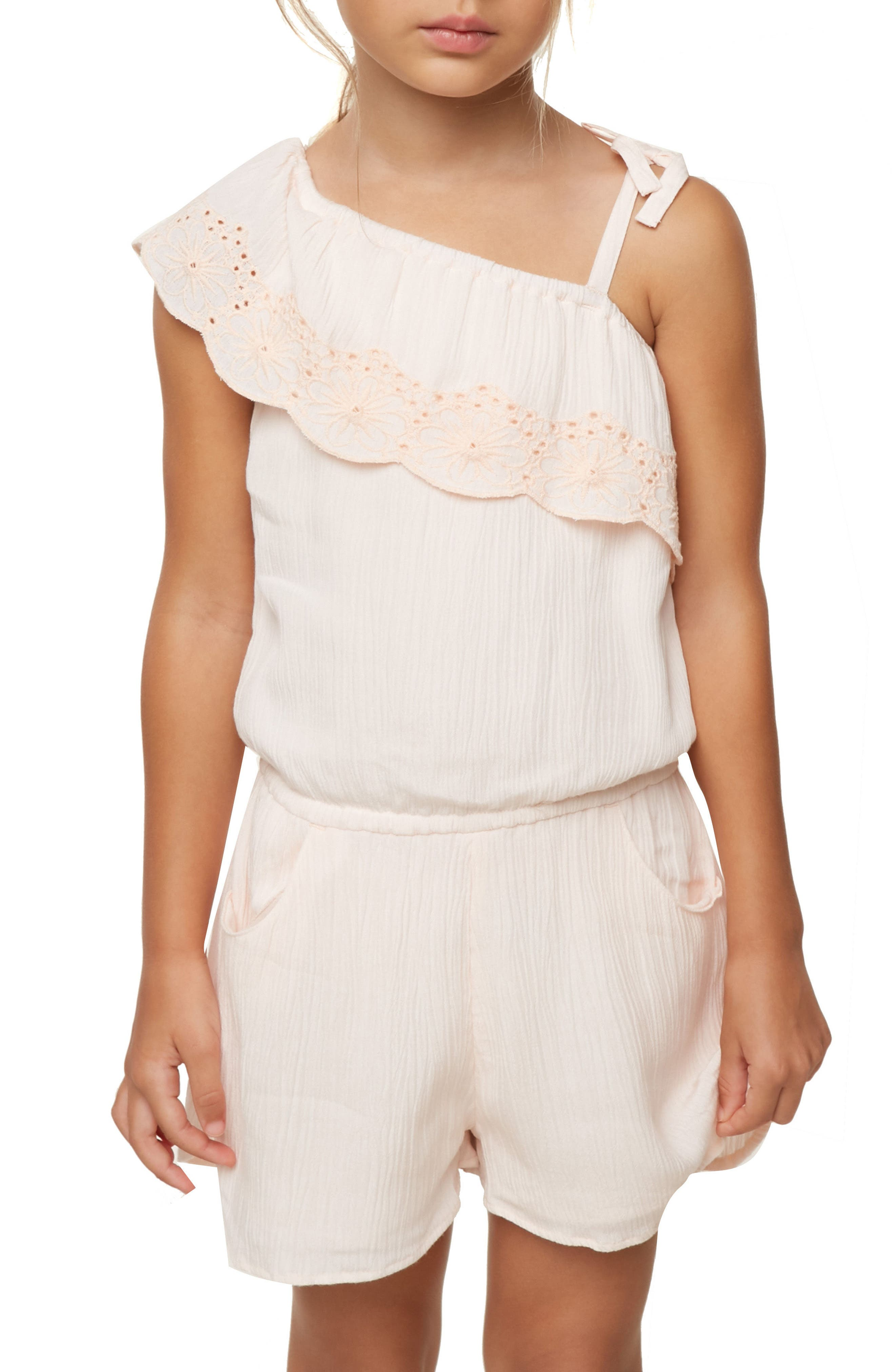 Lanai One-Shoulder Romper,                             Alternate thumbnail 3, color,                             PEACH BLUSH
