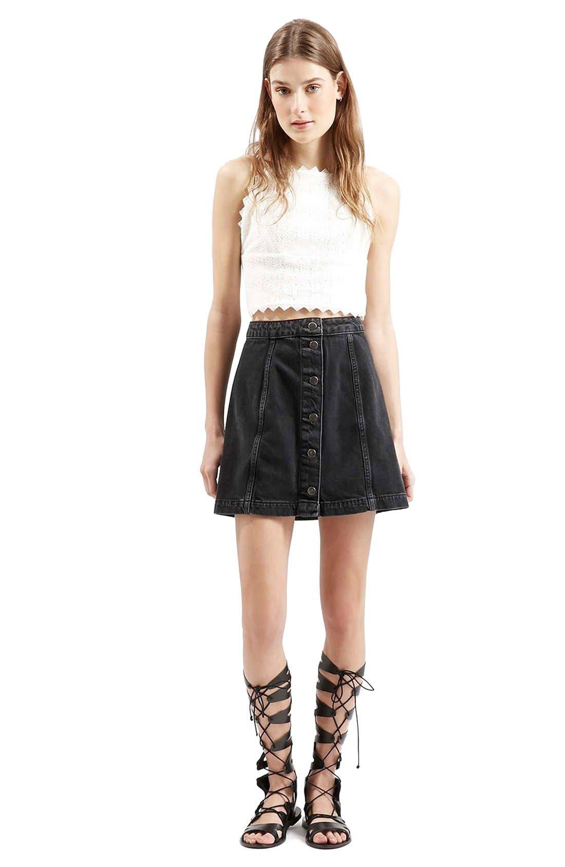 Button Front A-Line Denim Skirt,                             Alternate thumbnail 2, color,                             001