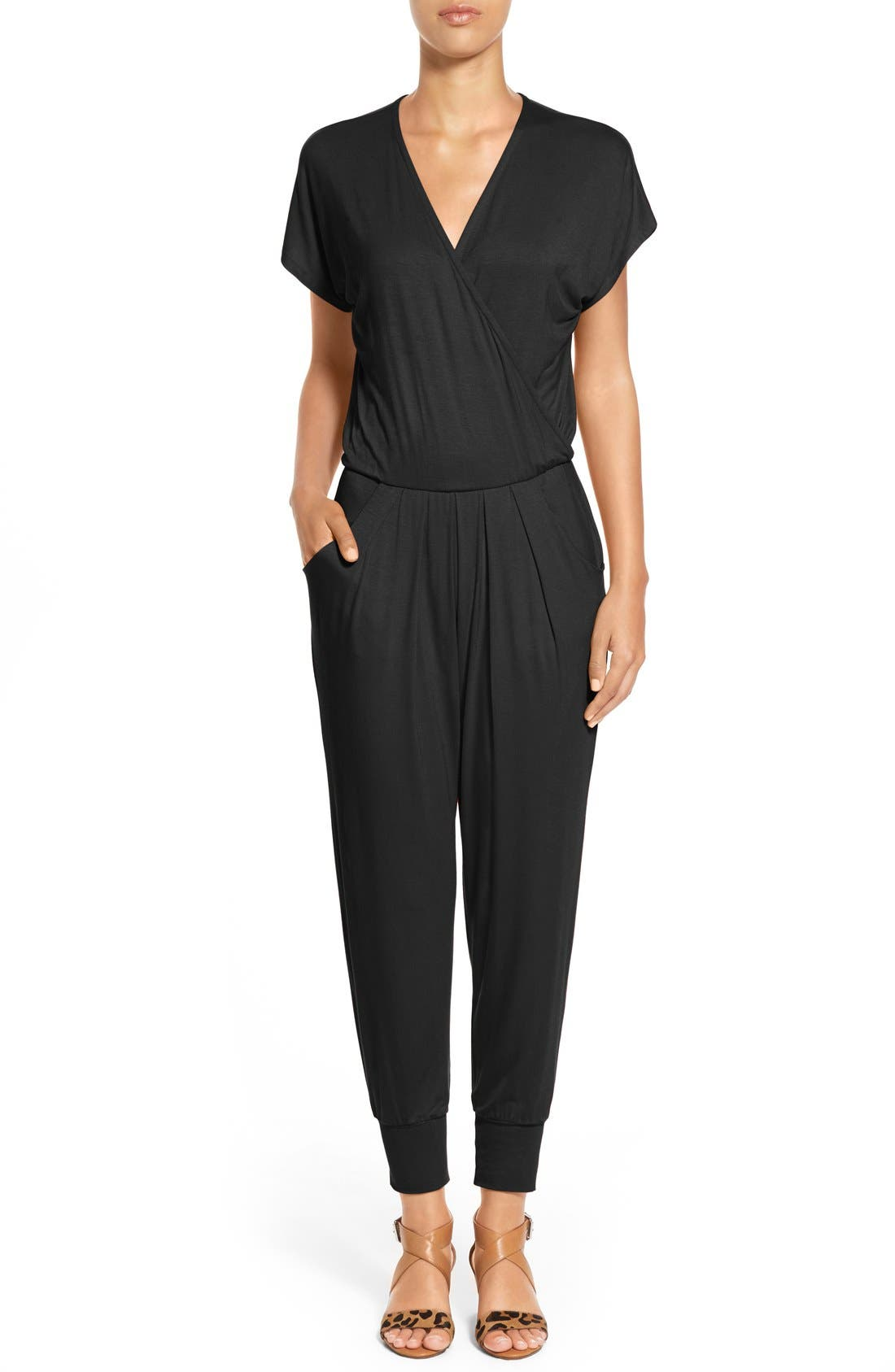 Short Sleeve Wrap Top Jumpsuit,                             Main thumbnail 1, color,                             BLACK