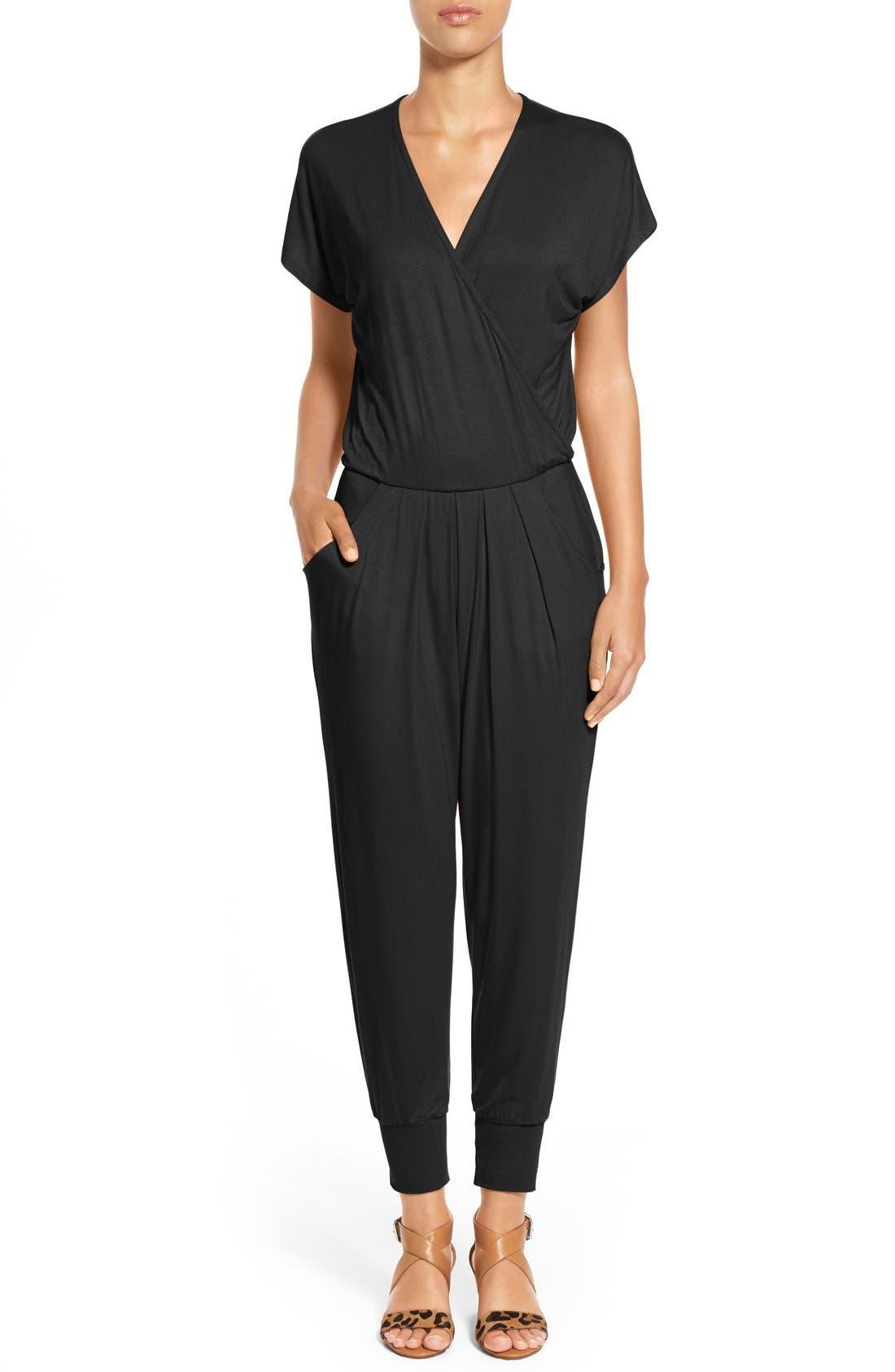 Short Sleeve Wrap Top Jumpsuit,                         Main,                         color,