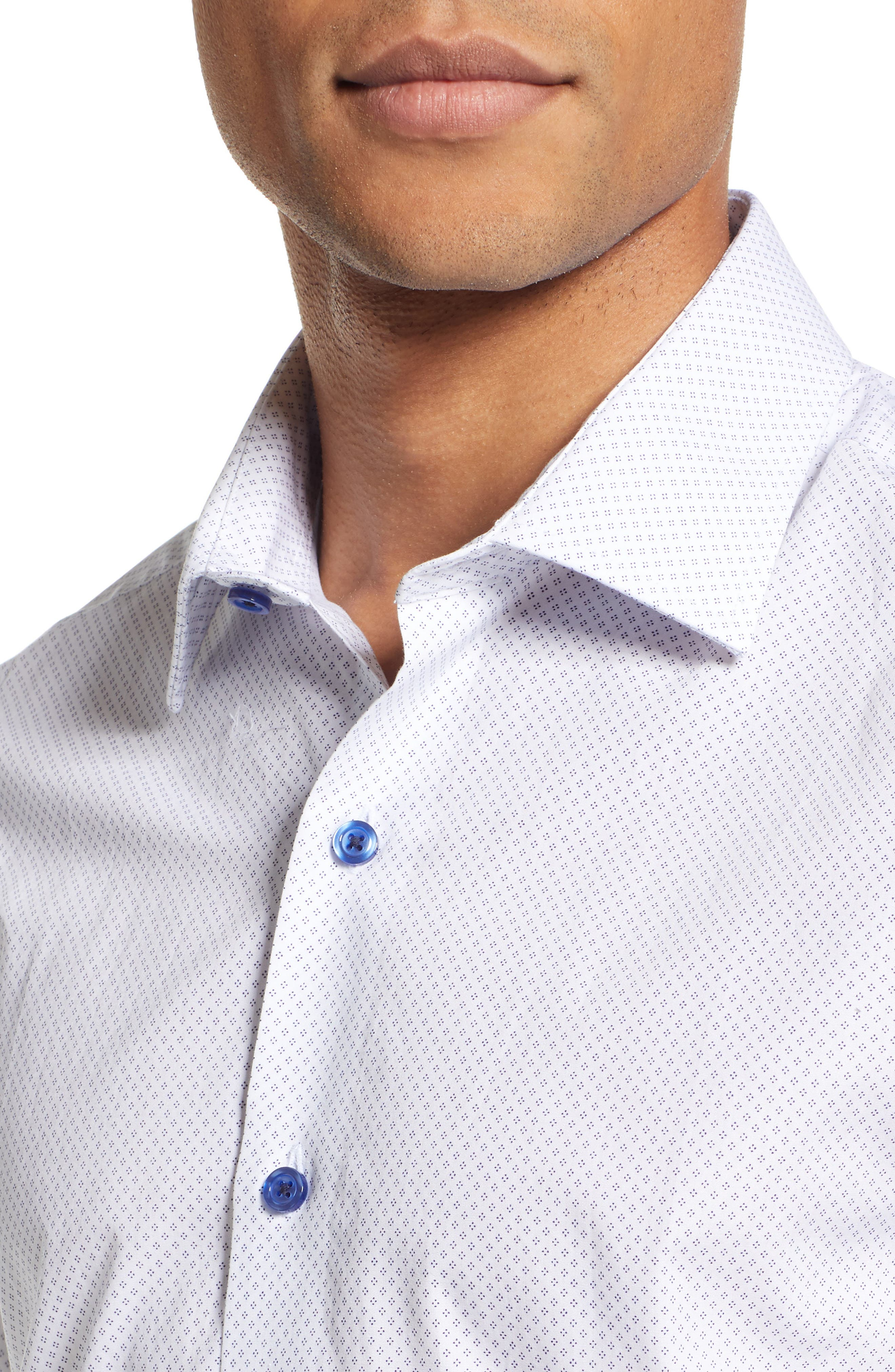 Slim Fit Diamond Dress Shirt,                             Alternate thumbnail 2, color,                             WHITE DIAMOND DOT