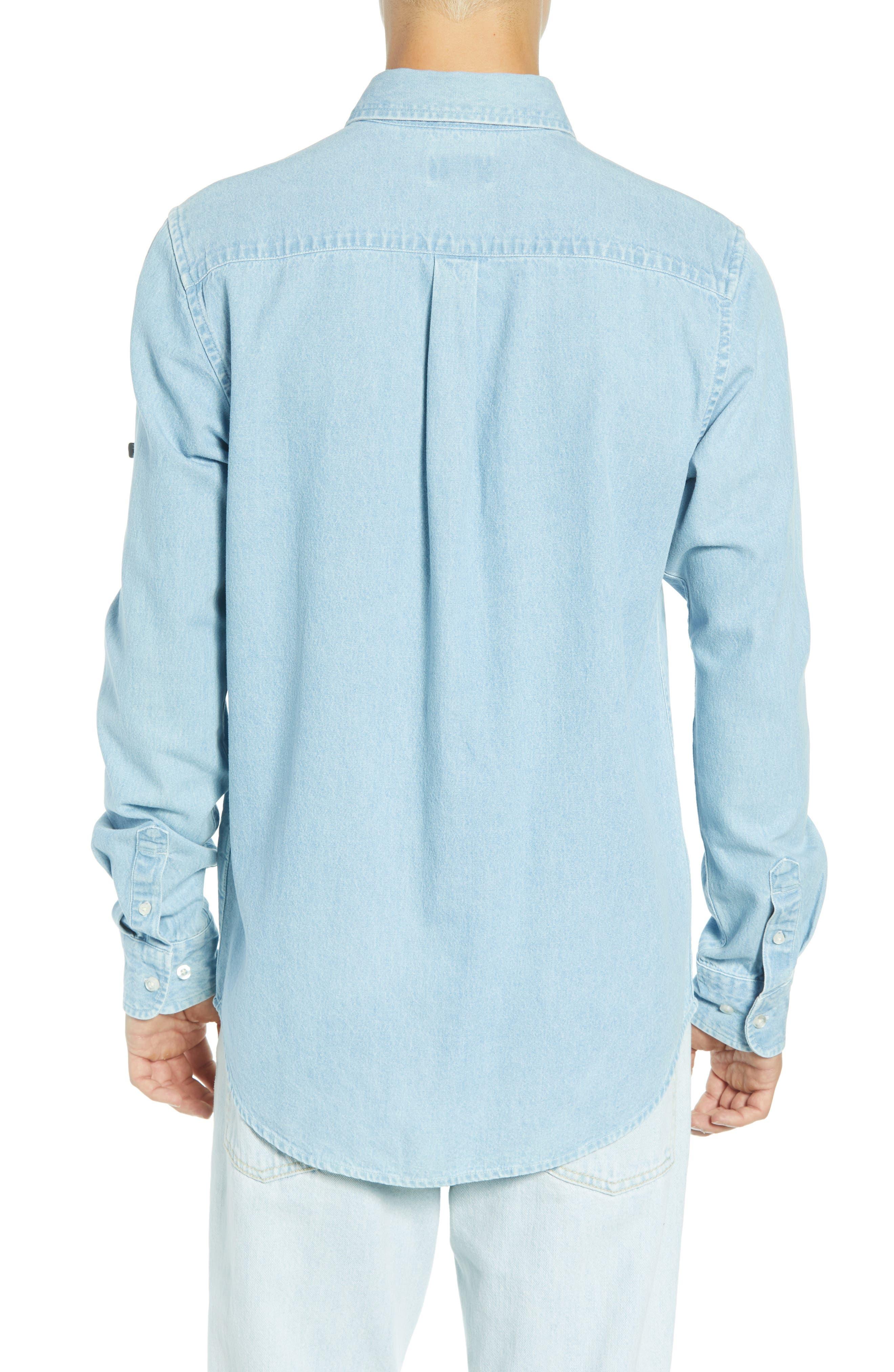 Keble Chambray Shirt,                             Alternate thumbnail 3, color,                             BLUE