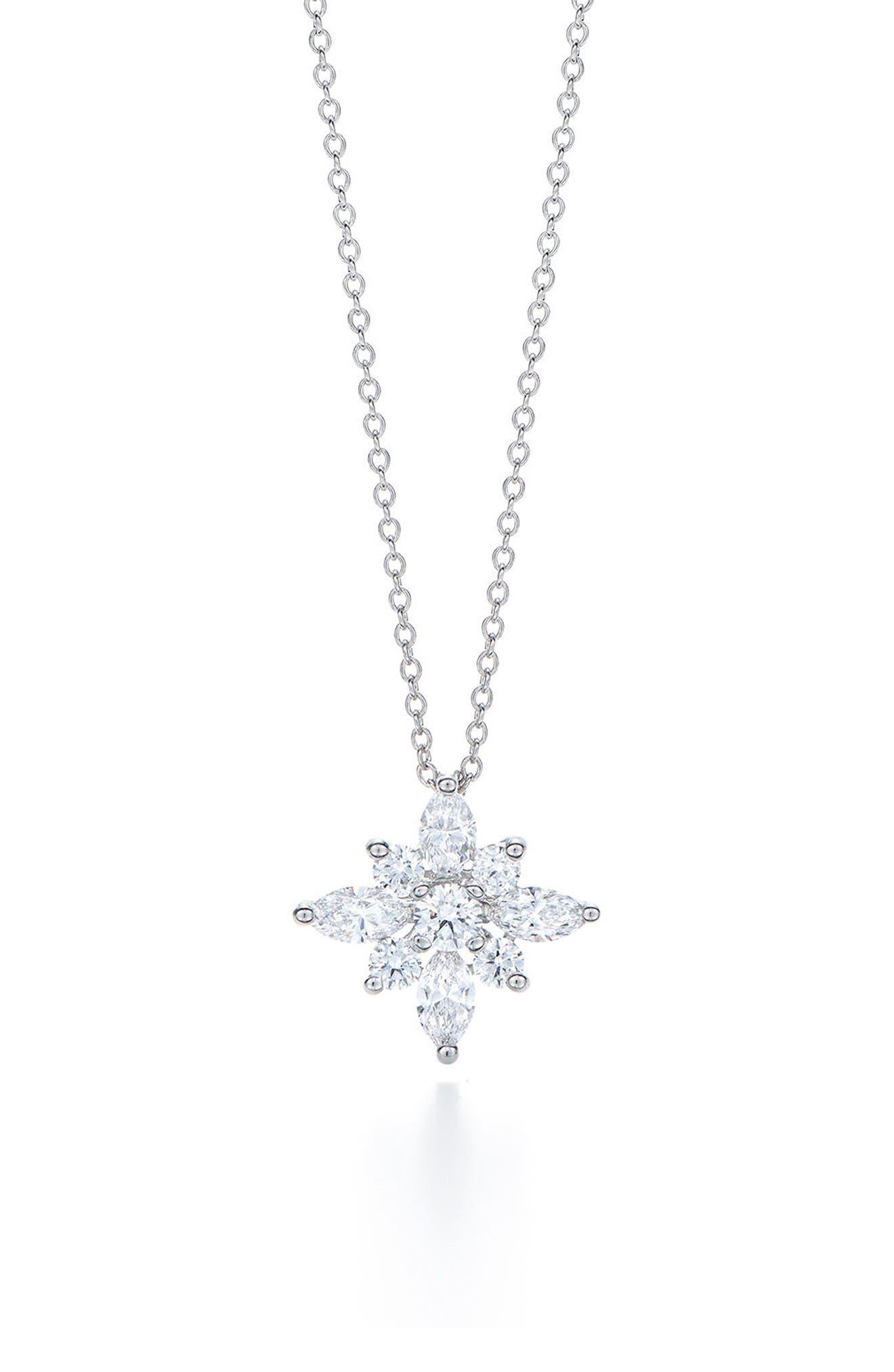 .90ct tw Diamond Star Pendant Necklace,                             Main thumbnail 1, color,                             WHITE GOLD