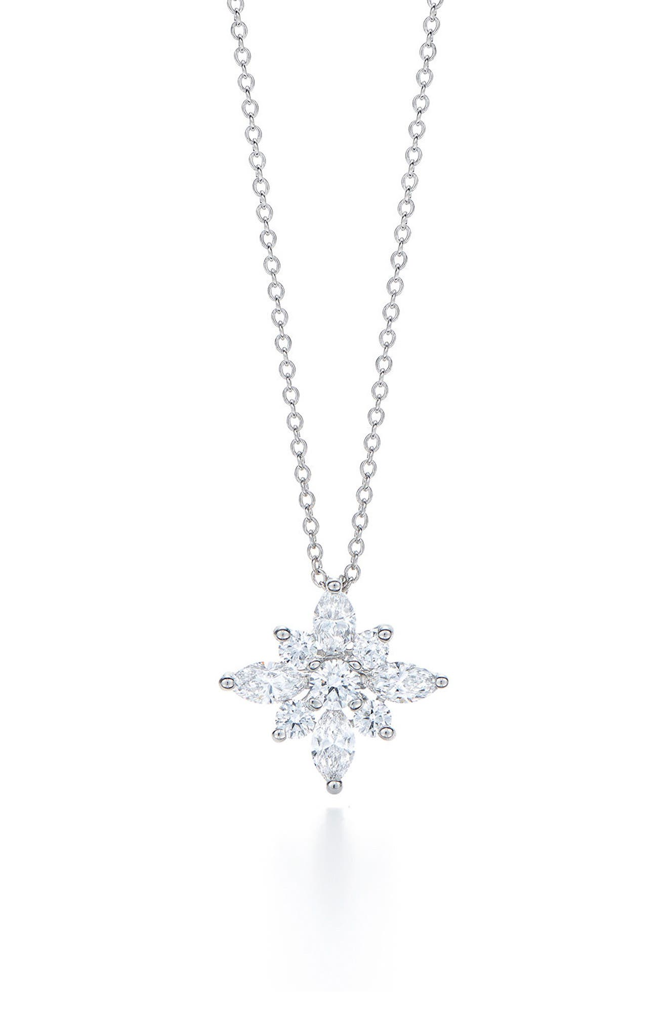 .90ct tw Diamond Star Pendant Necklace,                         Main,                         color, WHITE GOLD