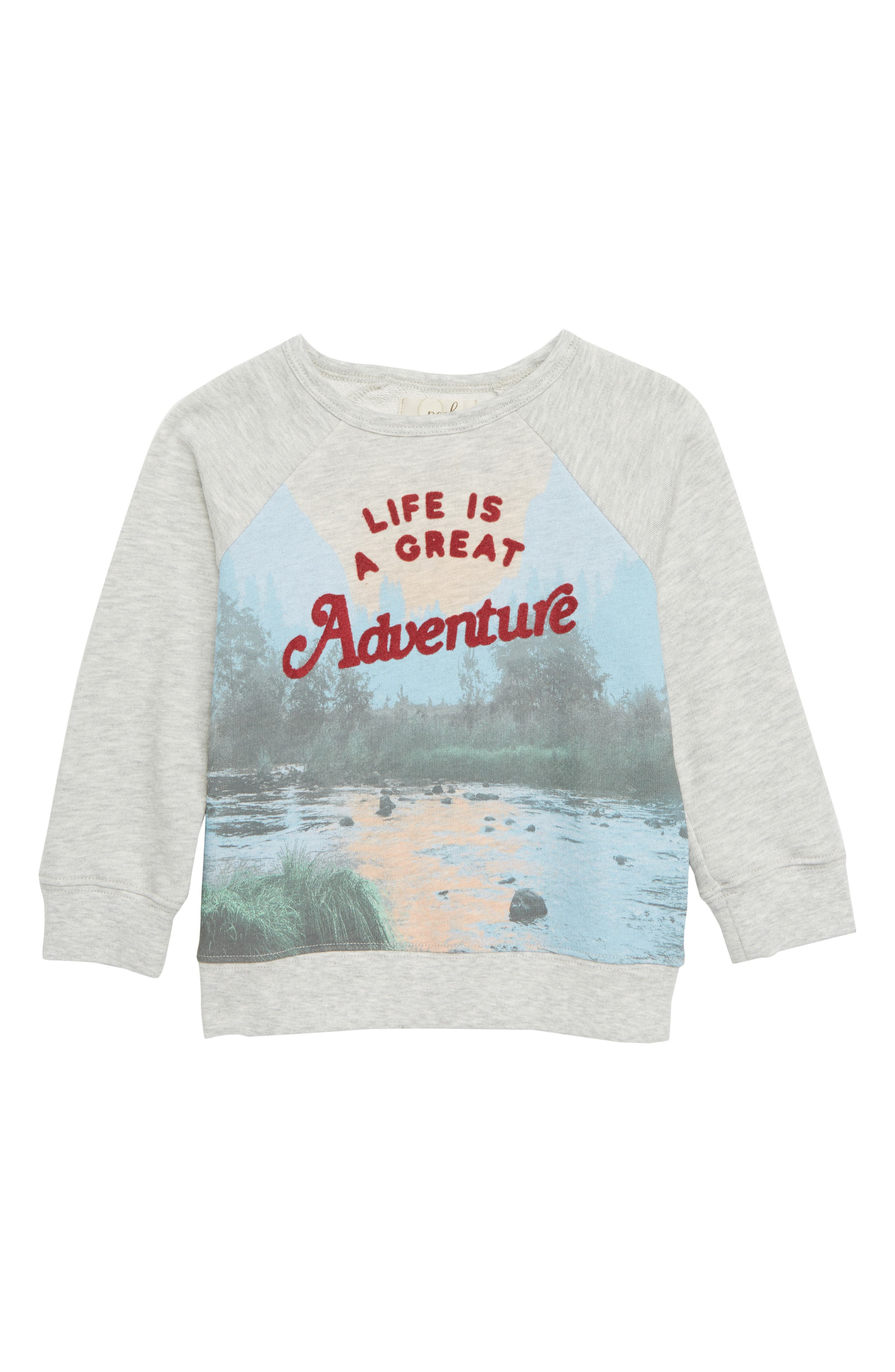 Adventure Crew Graphic Sweatshirt,                             Main thumbnail 1, color,                             LIGHT HEATHER GREY