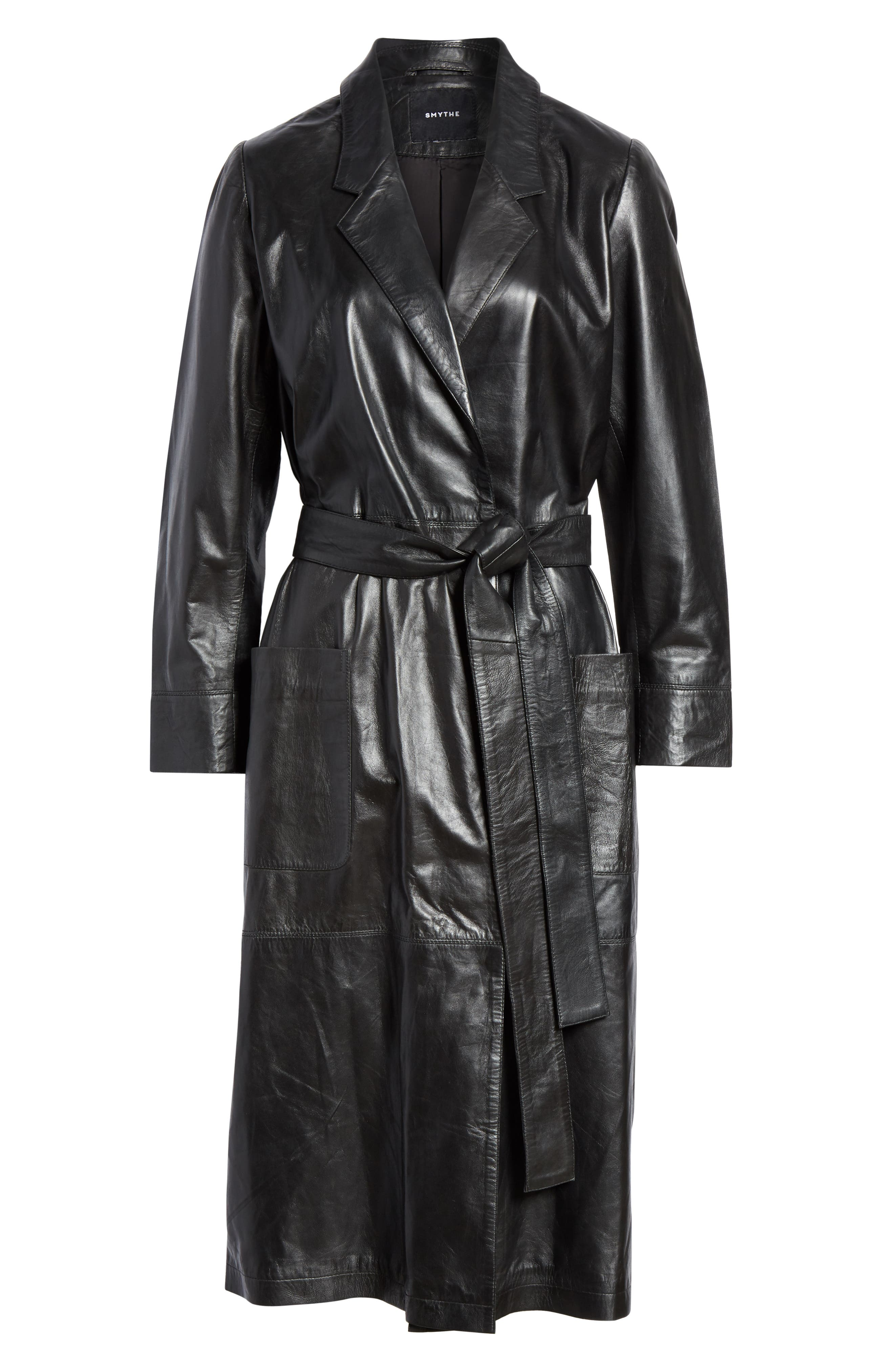 Leather Trench Coat,                             Alternate thumbnail 5, color,                             BLACK