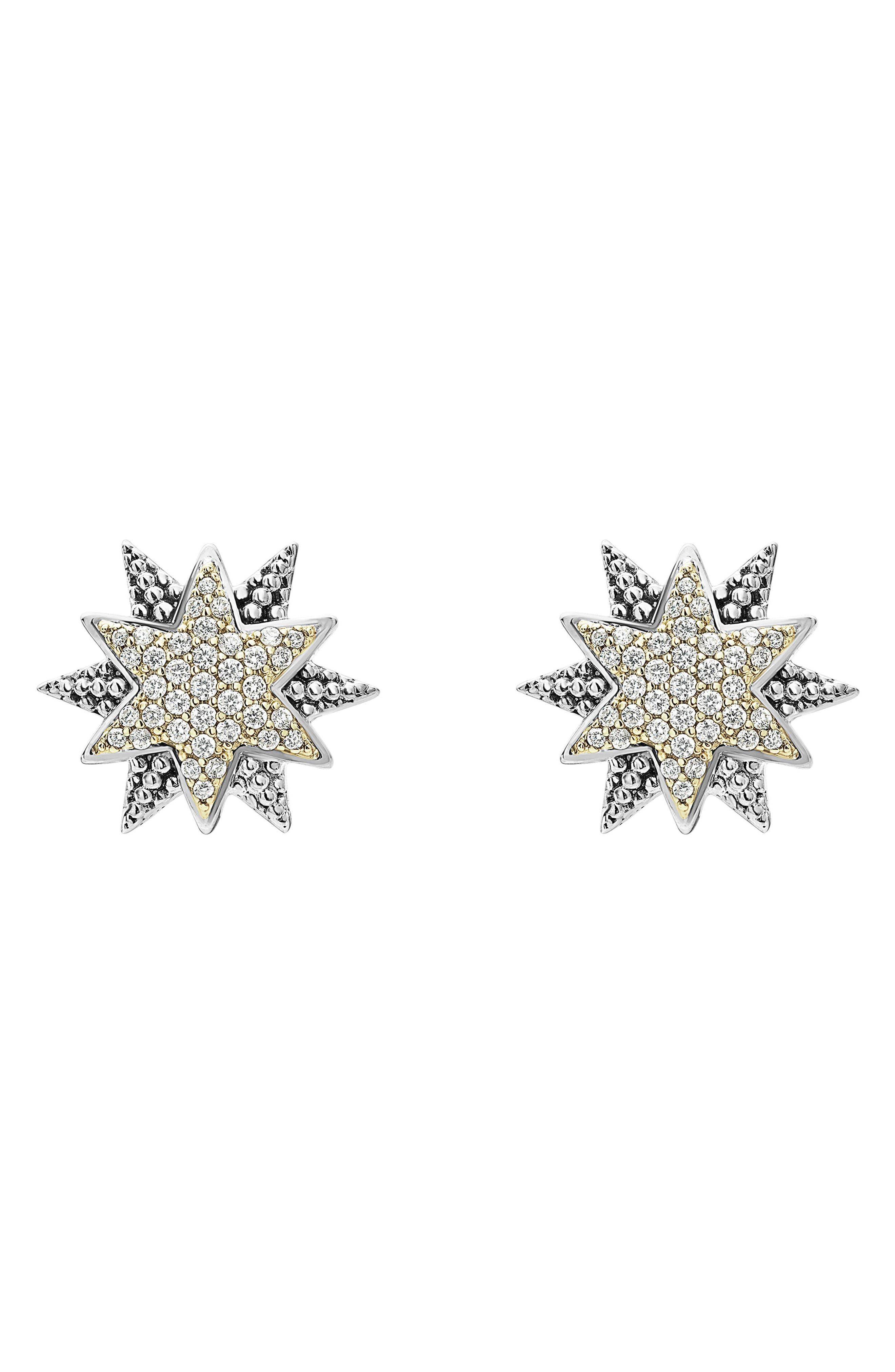 North Star Diamond Omega Earrings,                             Main thumbnail 1, color,                             DIAMOND