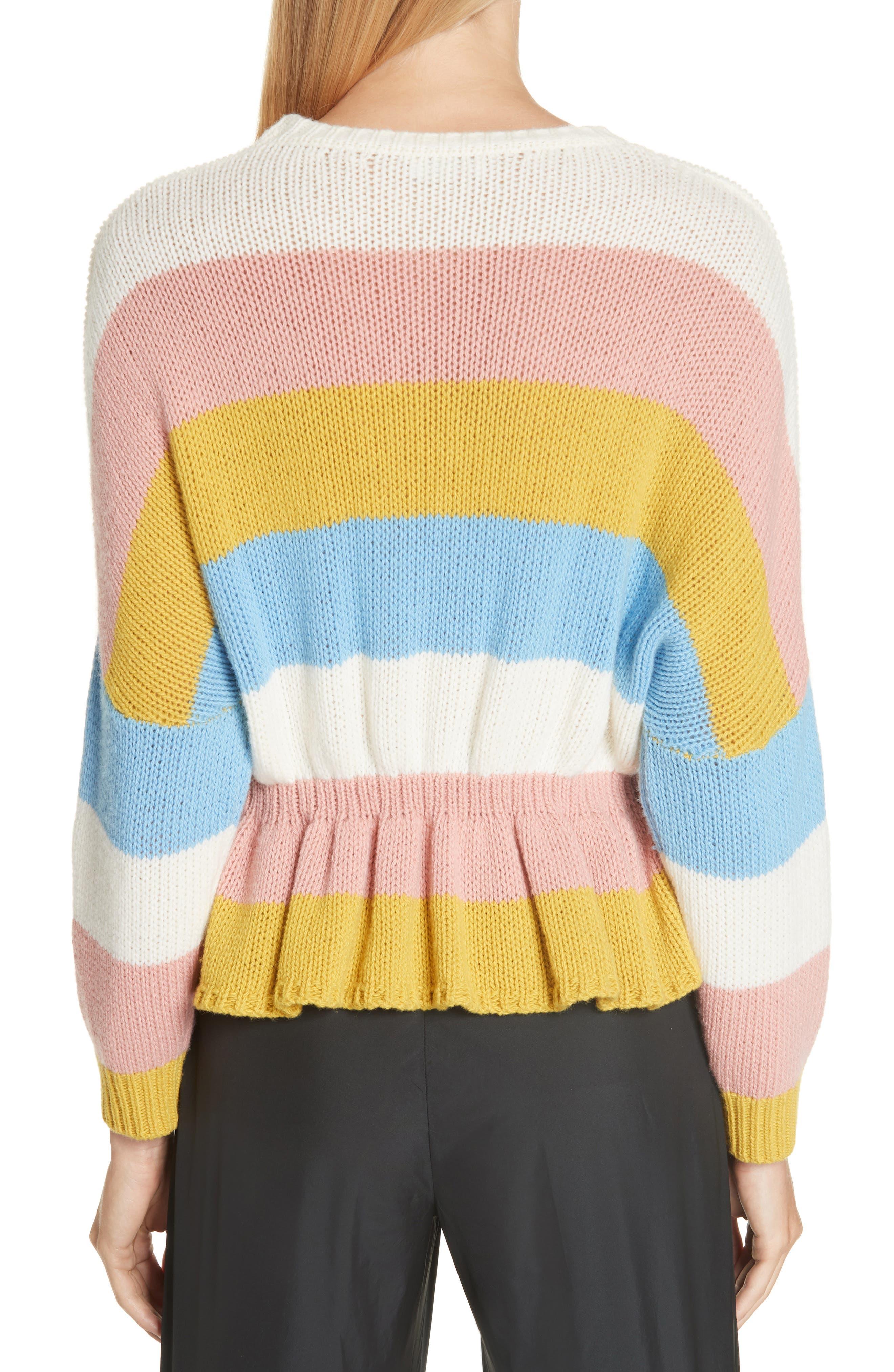RED VALENTINO,                             Ruffle Hem Stripe Wool Sweater,                             Alternate thumbnail 2, color,                             110