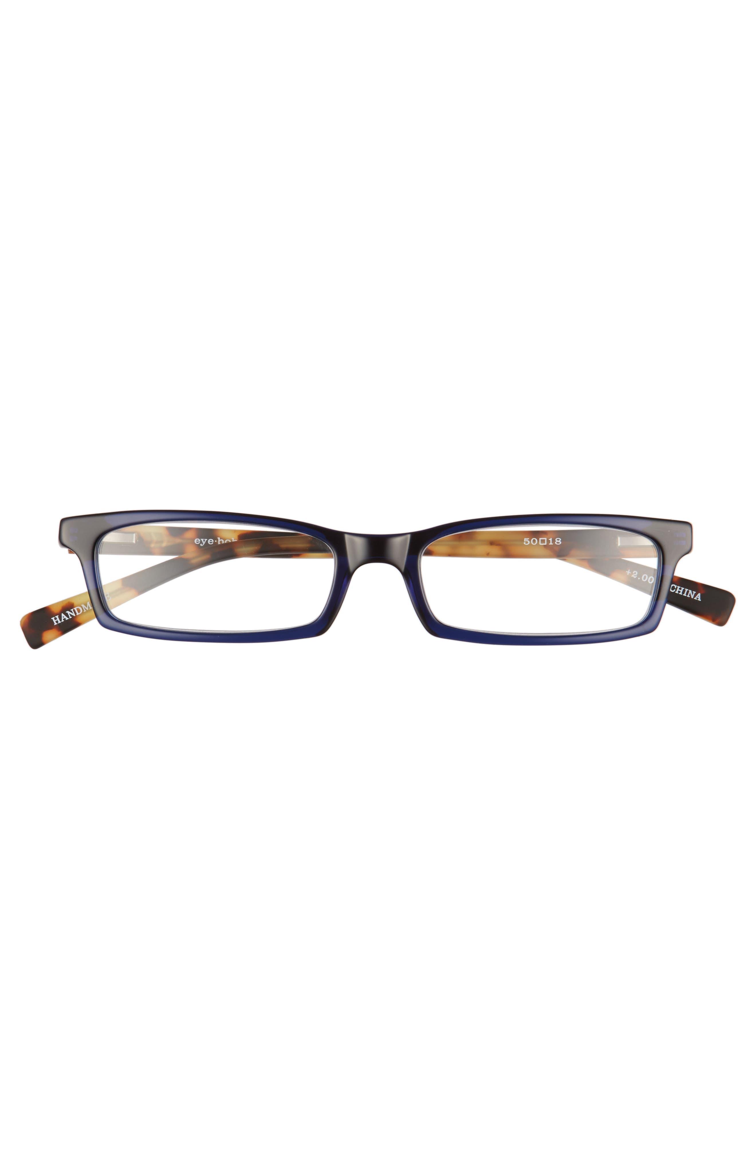 Man Power 50mm Reading Glasses,                             Alternate thumbnail 2, color,                             NAVY WITH TORTOISE