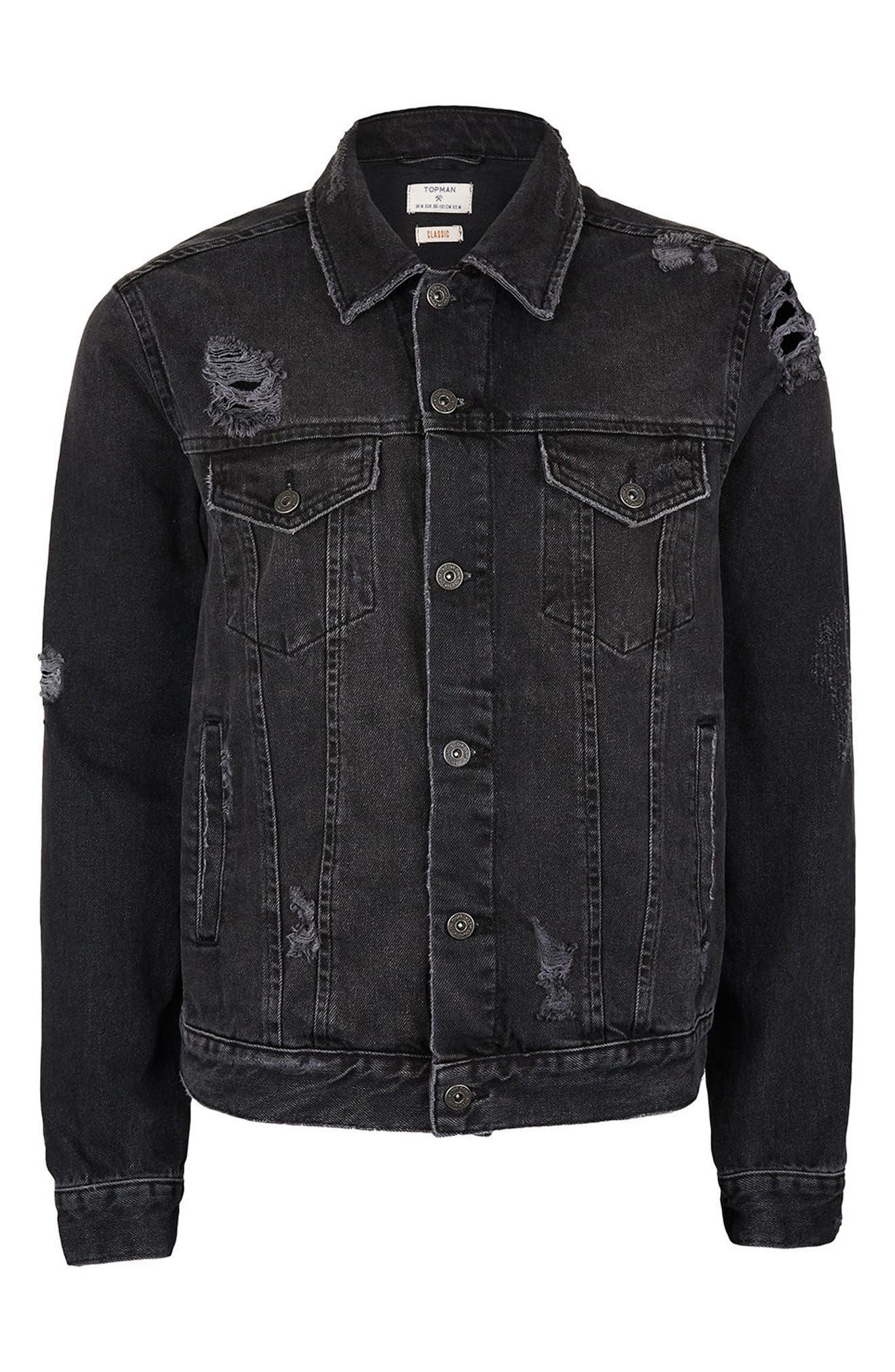 Distressed Denim Jacket,                             Alternate thumbnail 6, color,                             001