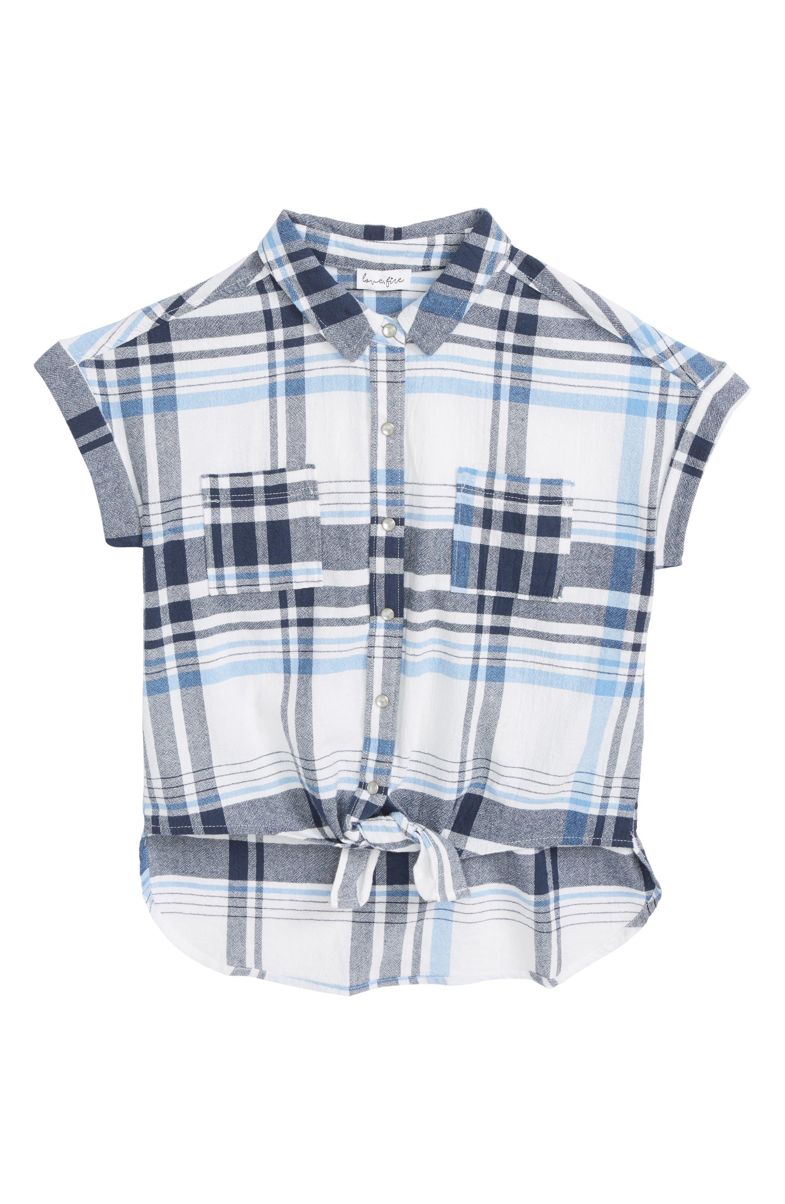 Tie Front Plaid Shirt,                             Main thumbnail 1, color,                             471