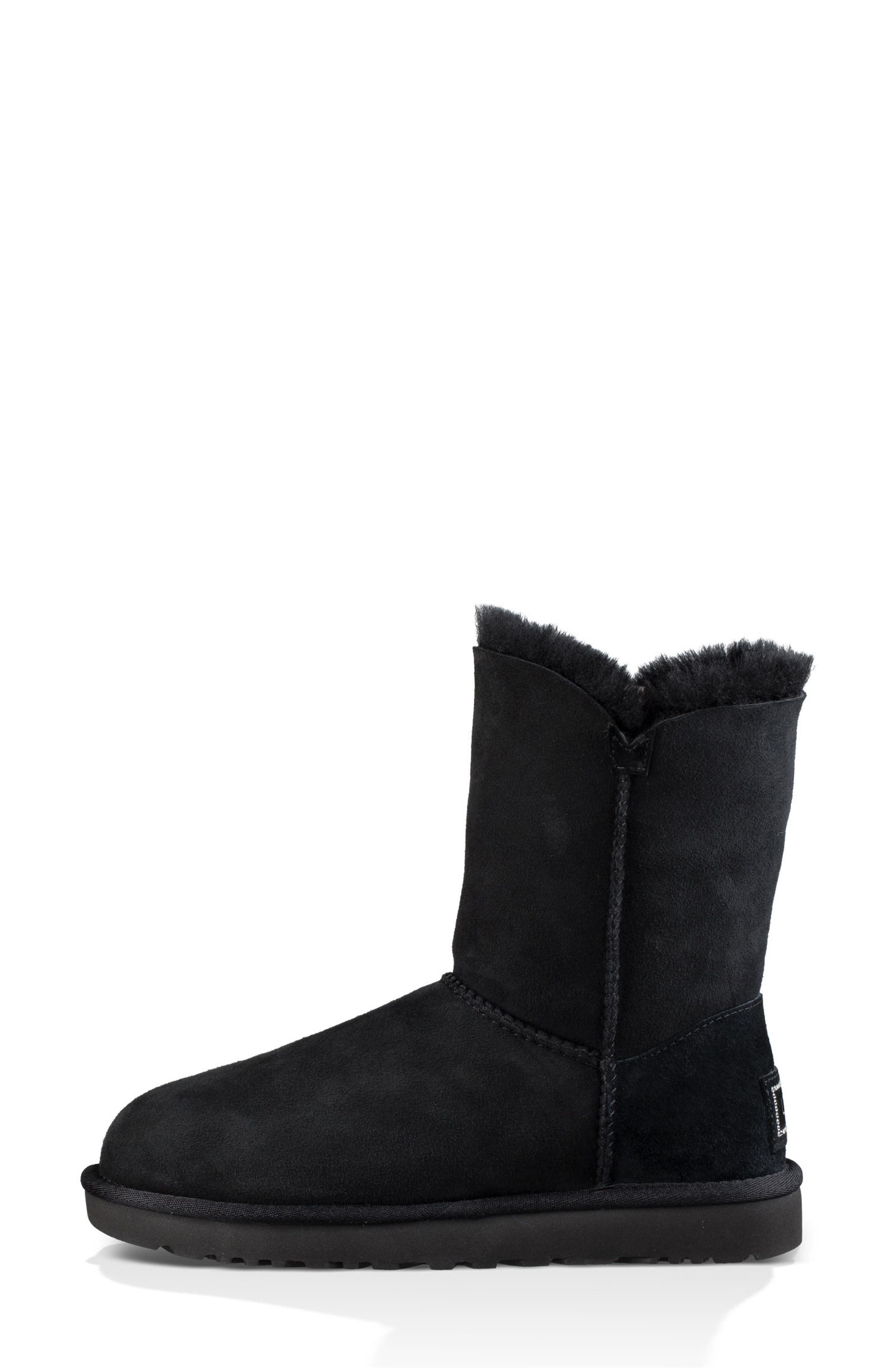 Bailey Button Bling Genuine Shearling Boot,                             Alternate thumbnail 6, color,                             BLACK SUEDE
