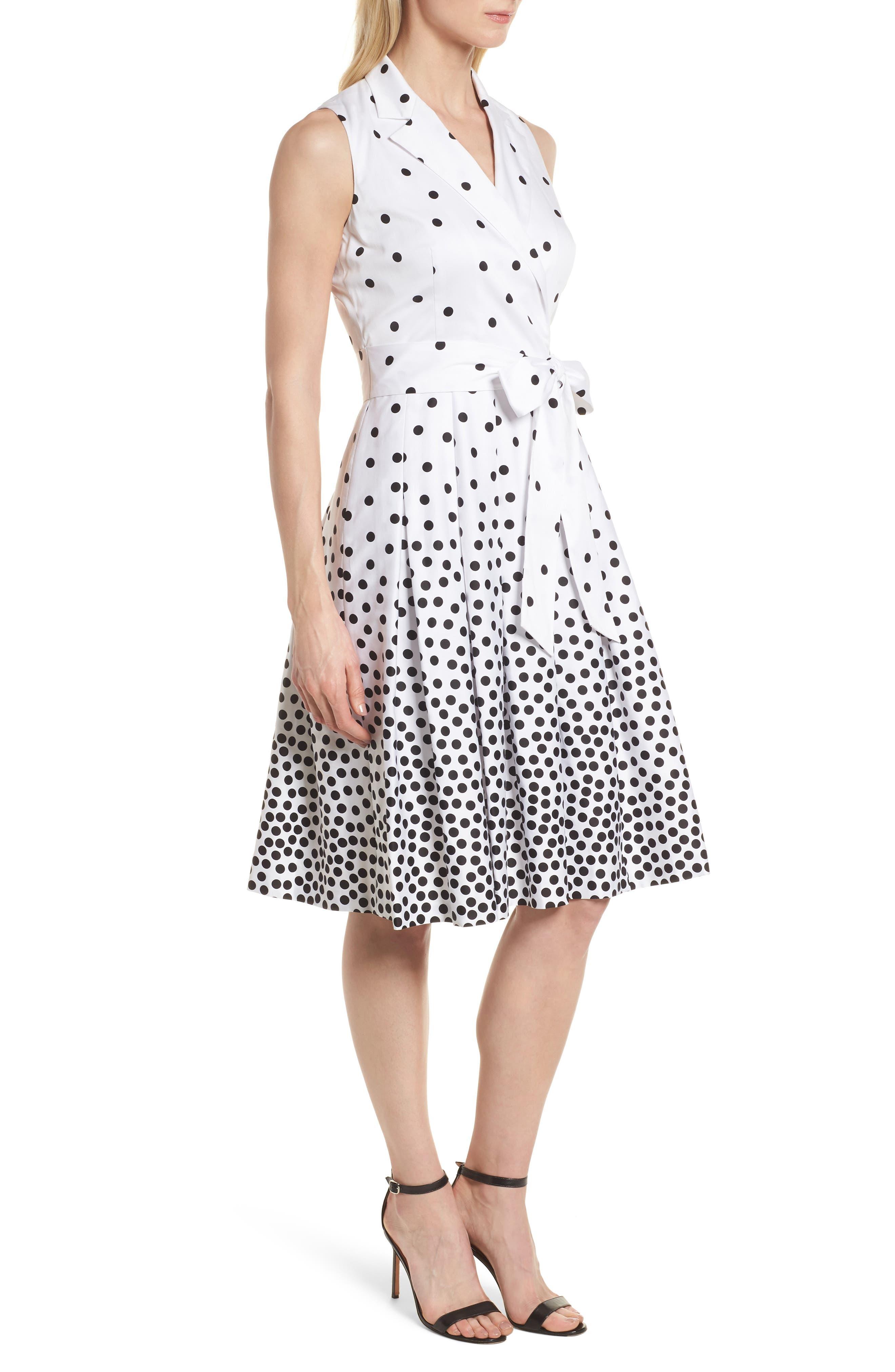 Scattered Dot Notch Collar Dress,                             Alternate thumbnail 3, color,                             100