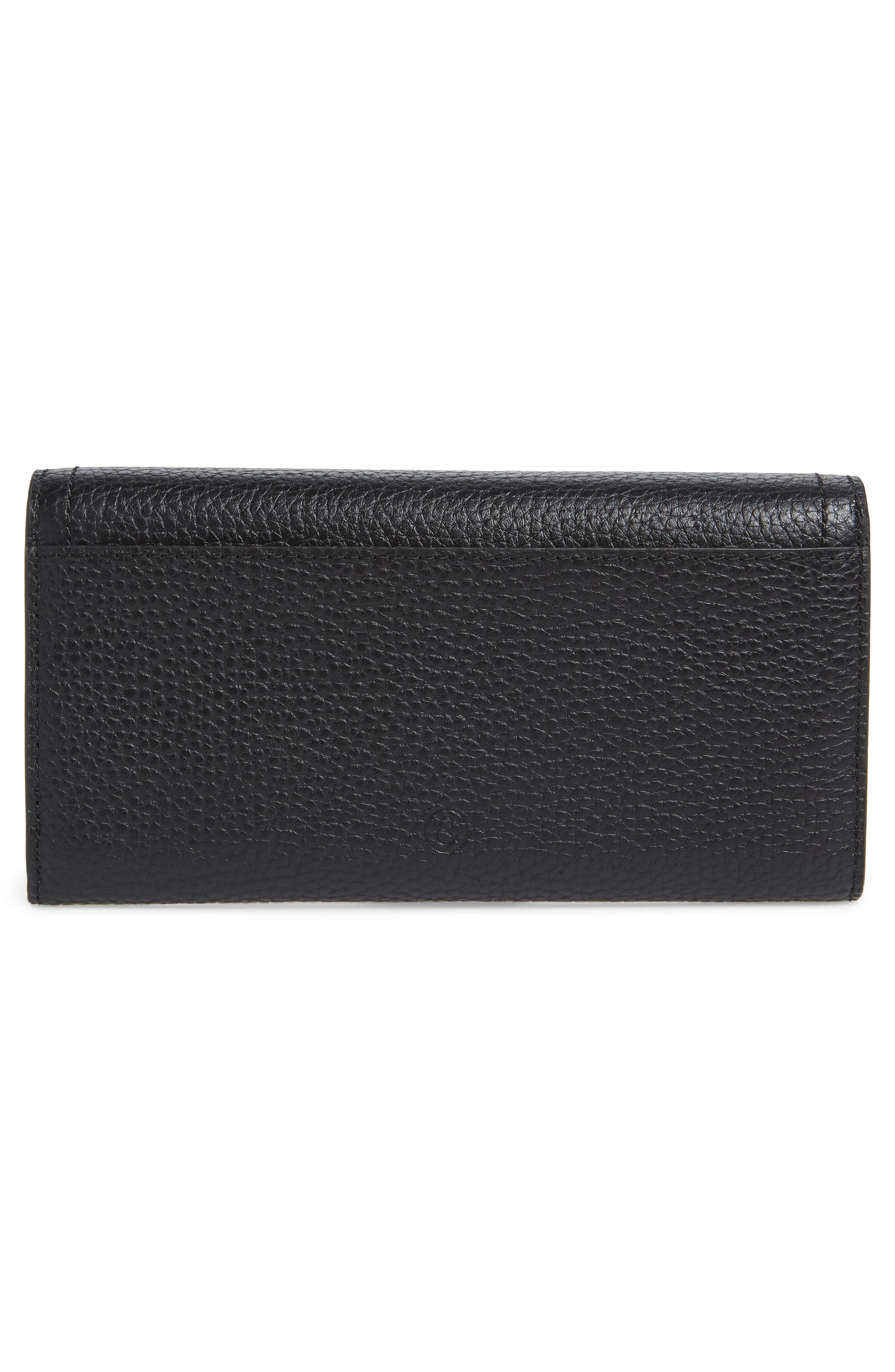 Leather Continental Wallet,                             Alternate thumbnail 3, color,                             BLACK