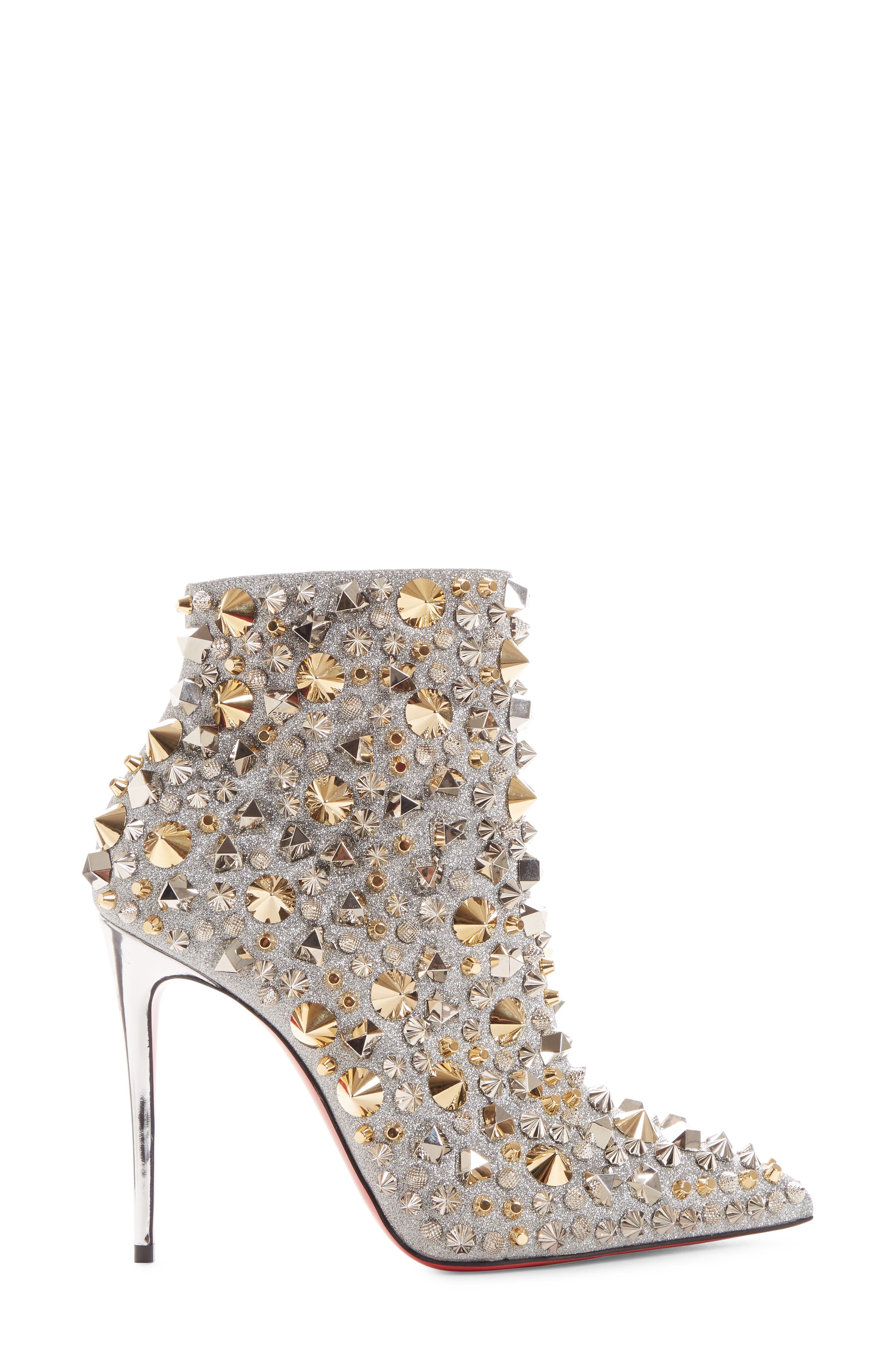 So Kate Studded Glitter Bootie,                             Alternate thumbnail 3, color,                             SILVER
