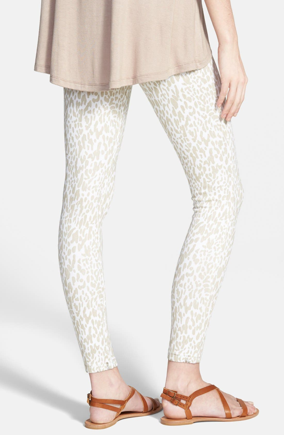 Leopard Print Denim Leggings,                             Alternate thumbnail 3, color,                             100