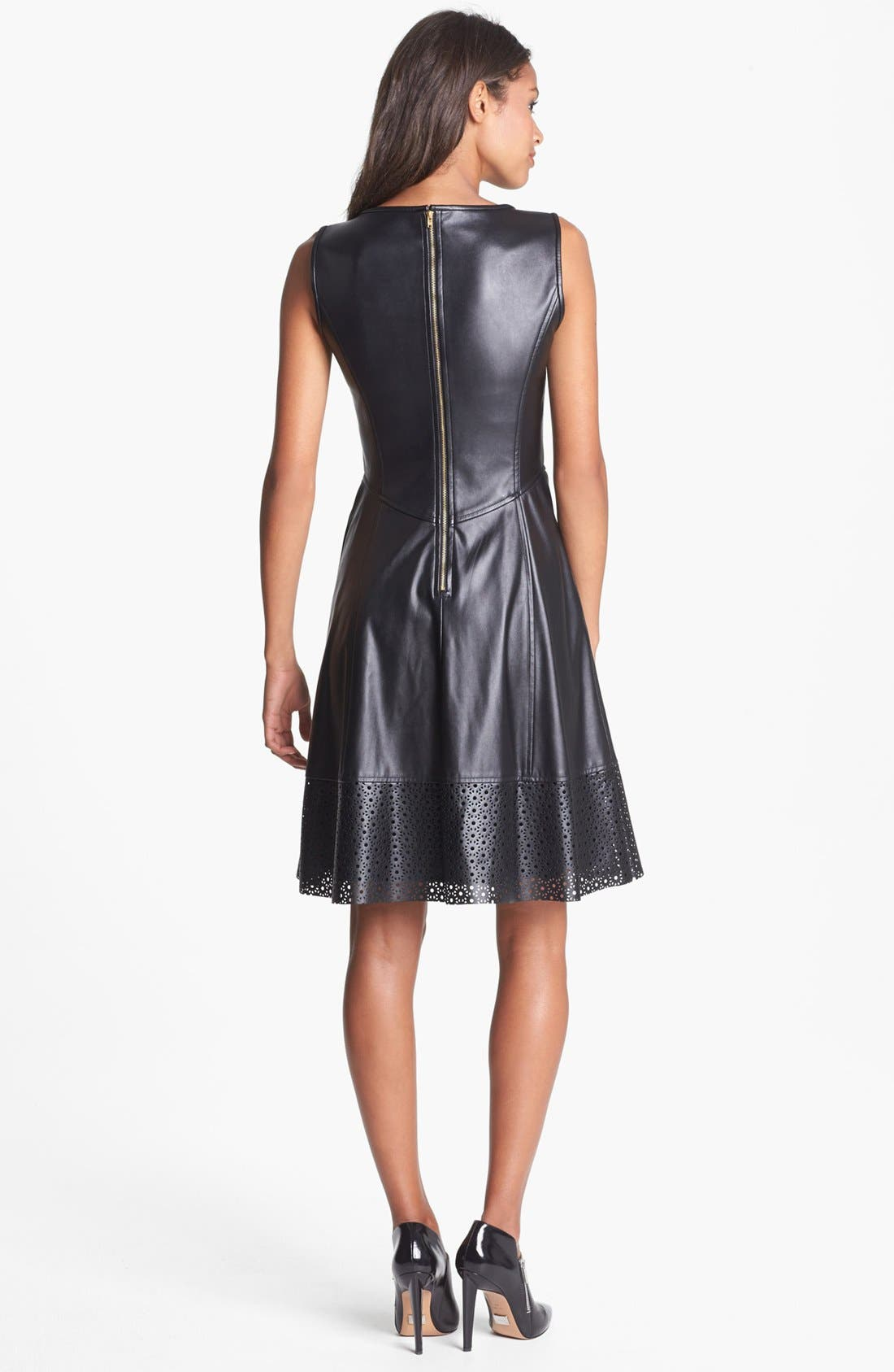 Perforated Faux Leather Fit & Flare Dress,                             Alternate thumbnail 3, color,                             001