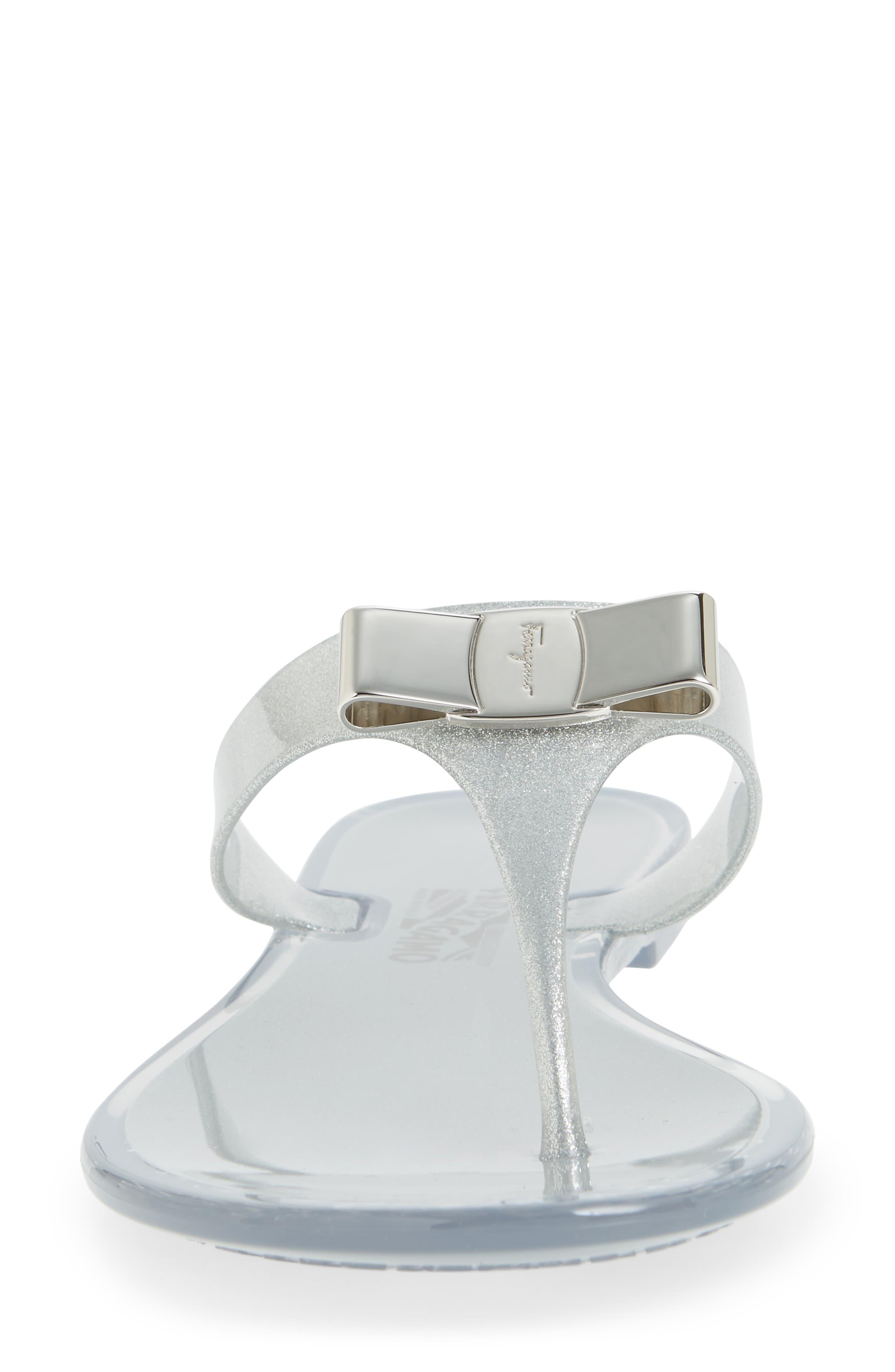 Farelia Jelly Flat Bow Flip Flop,                             Alternate thumbnail 4, color,                             SILVER GLITTER PVC