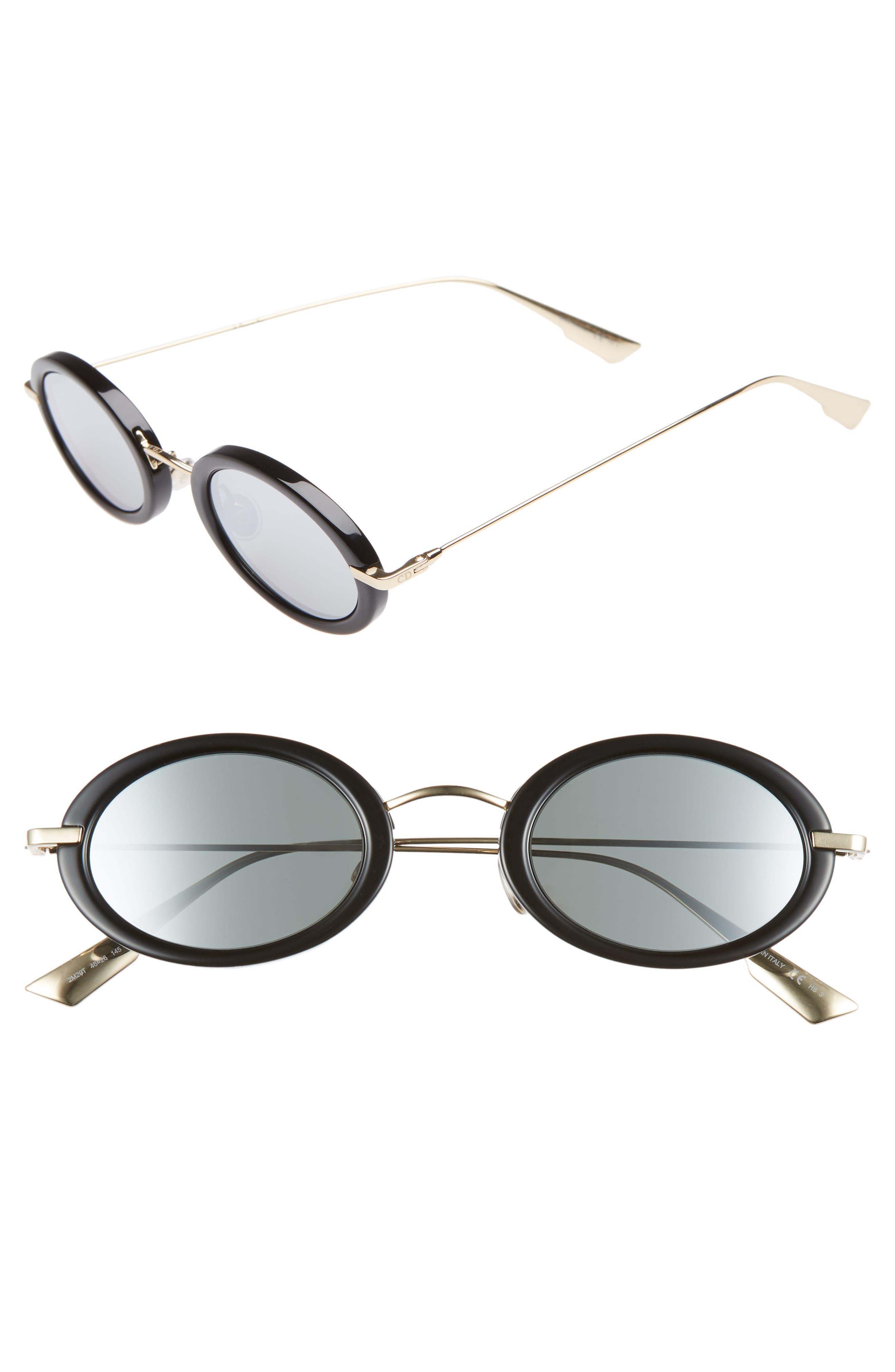 Christian Dior Hypnotic2 46mm Round Sunglasses, Main, color, BLACK GOLD/ GREY SILVER