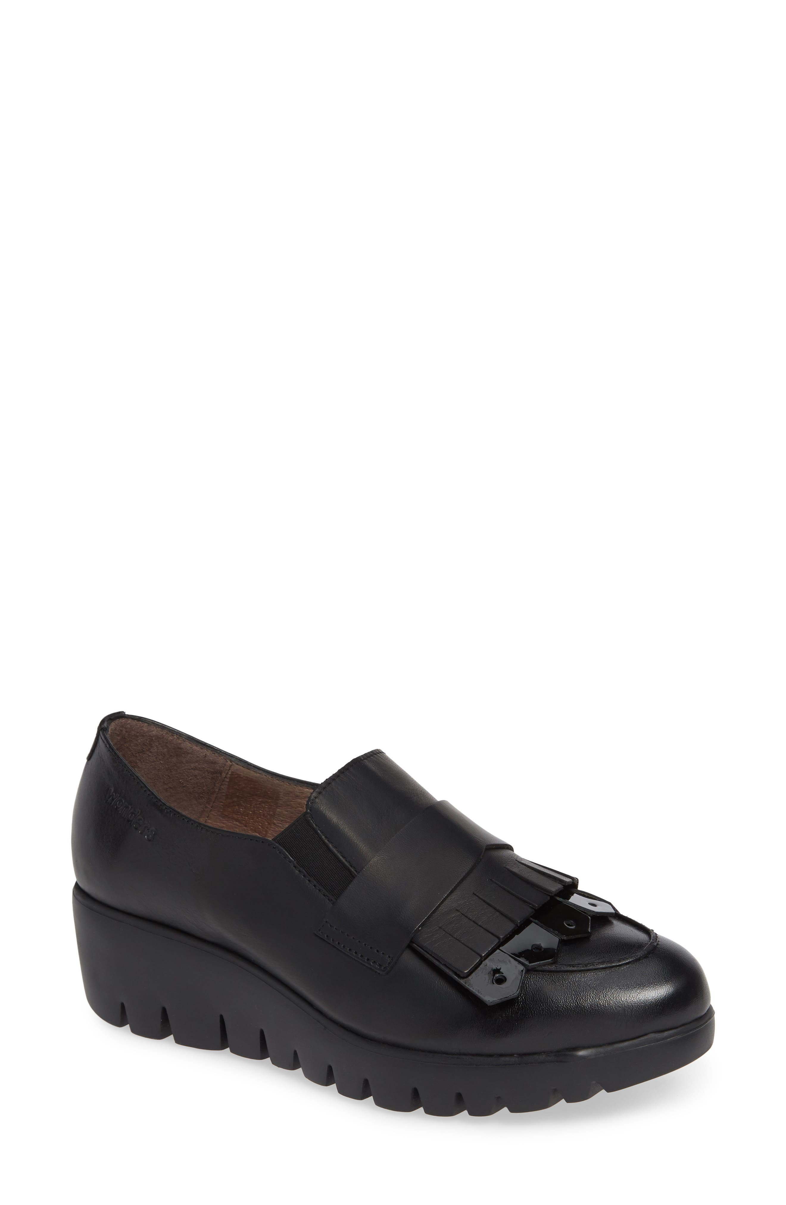 Kiltie Wedge Loafer,                             Main thumbnail 1, color,                             BLACK PATENT AND LEATHER