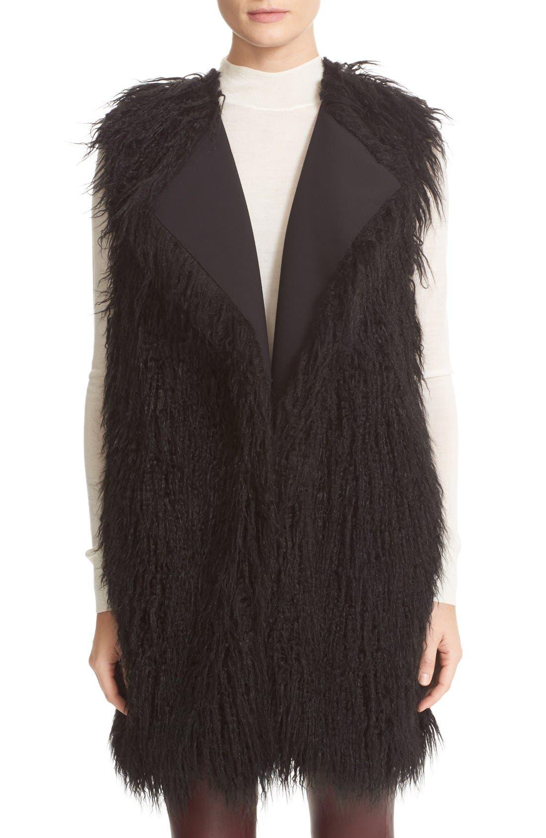 Nyma V Cody Shaggy Faux Fur Front Long Vest, Main, color, 001