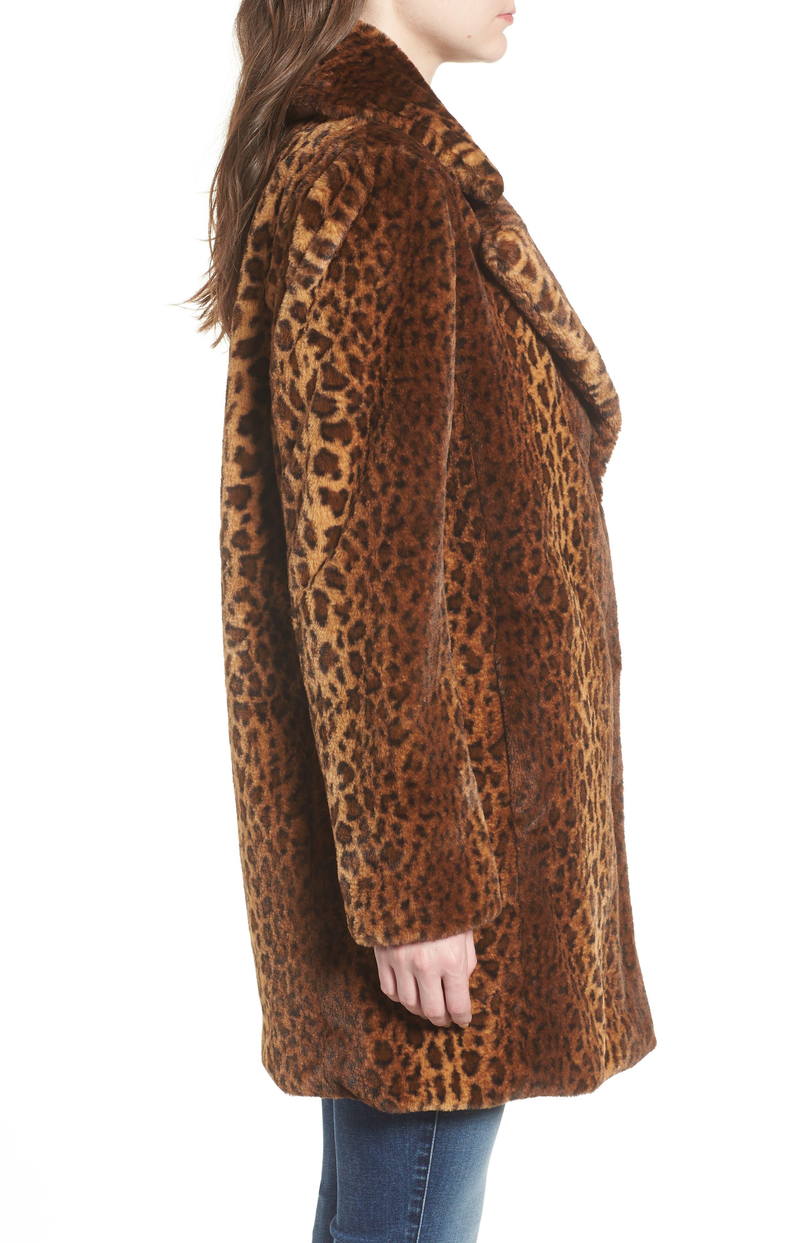 Faux Fur Leopard Print Coat,                             Alternate thumbnail 3, color,                             206