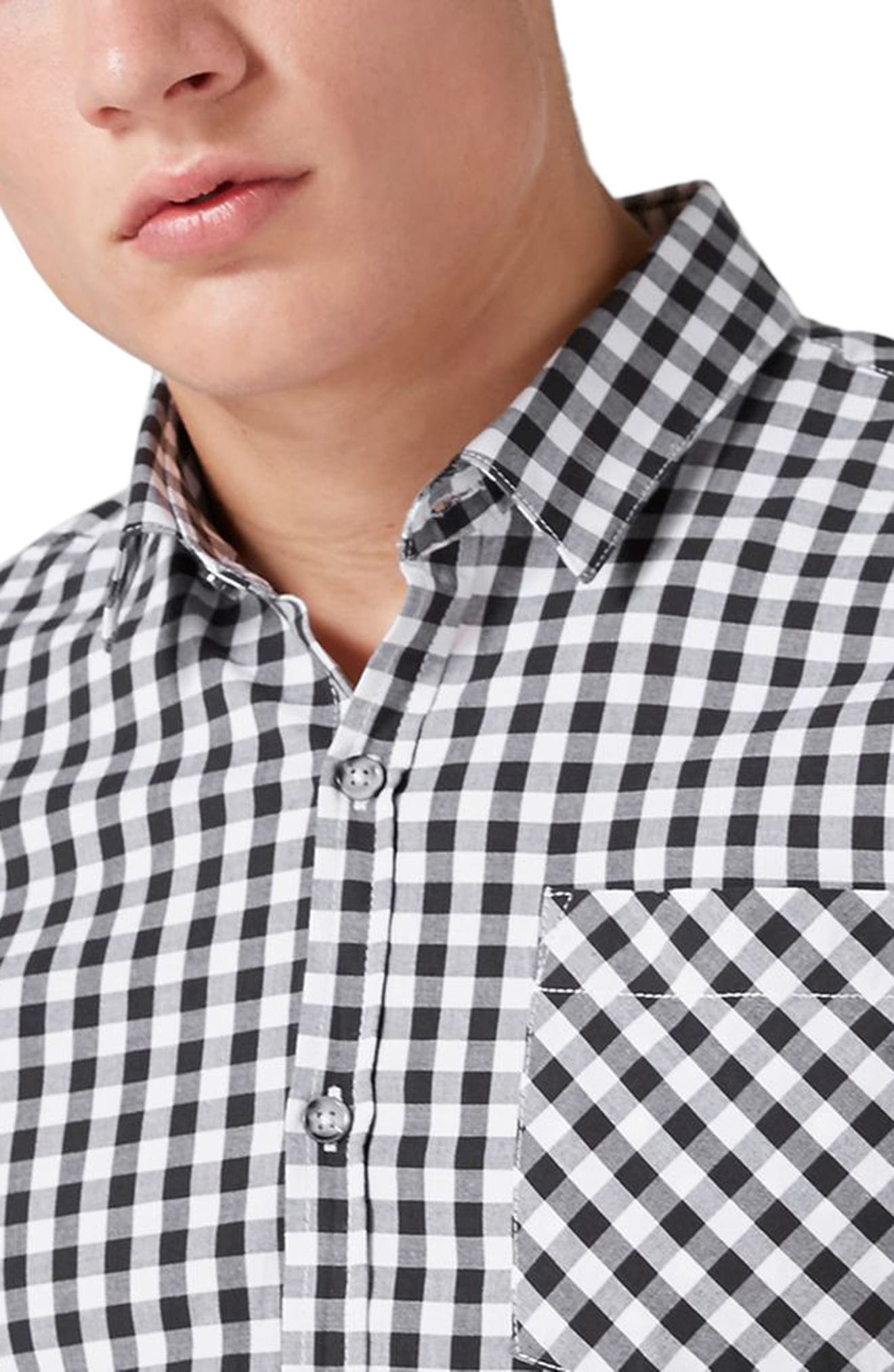 Muscle Fit Gingham Sport Shirt,                             Alternate thumbnail 3, color,                             001
