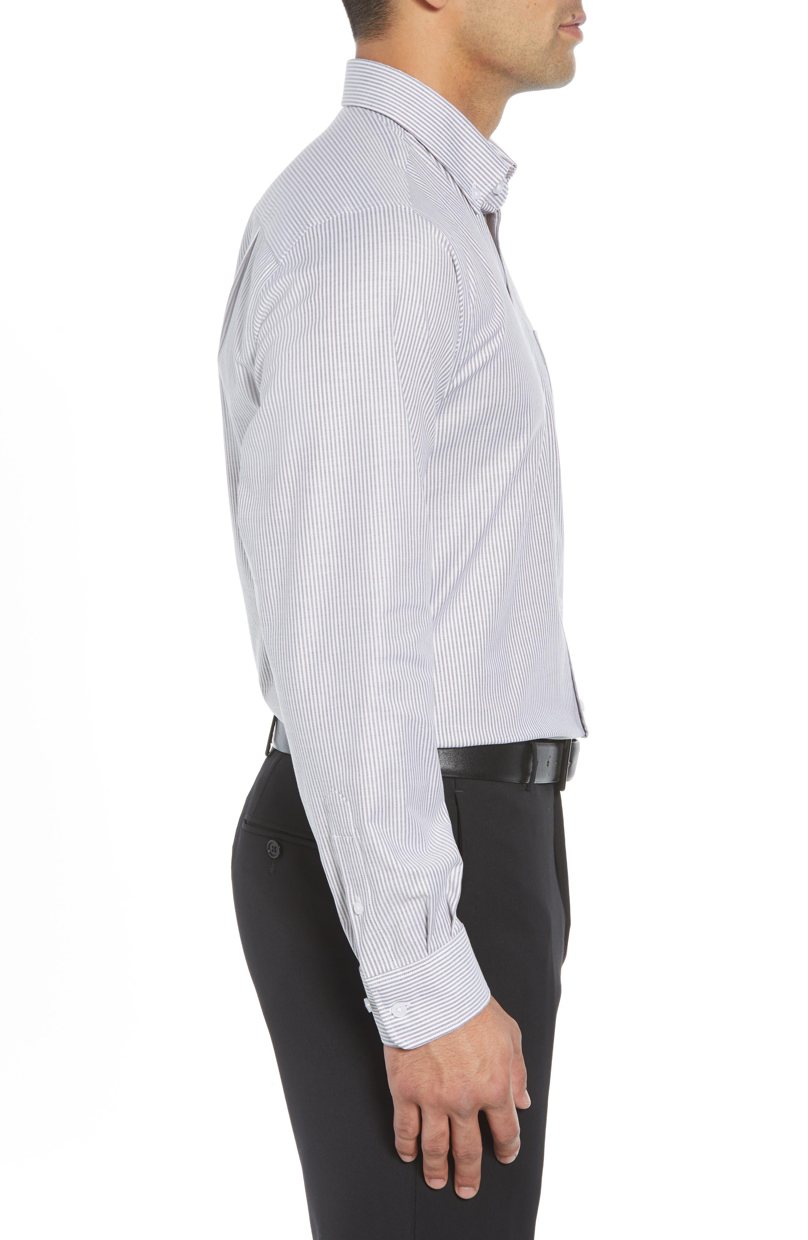 Regular Fit Stripe Stretch Oxford Shirt,                             Alternate thumbnail 4, color,                             CHARCOAL