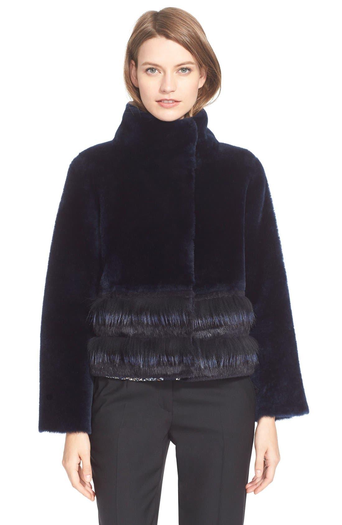 Stripe Reversible Genuine Fur Jacket,                             Main thumbnail 1, color,                             417