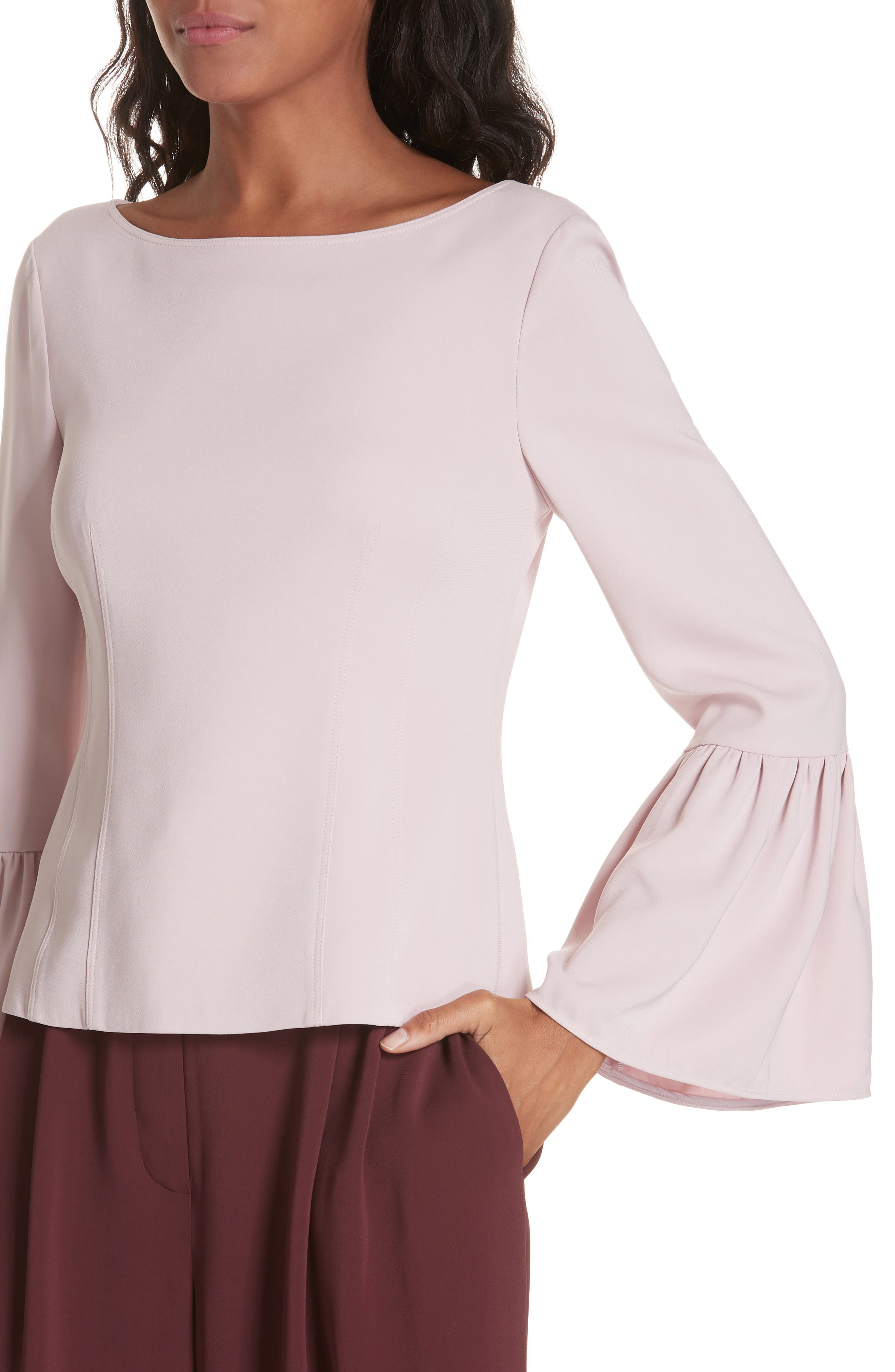 Stretch Suiting Bell Sleeve Top,                             Alternate thumbnail 4, color,                             PINK LILAC