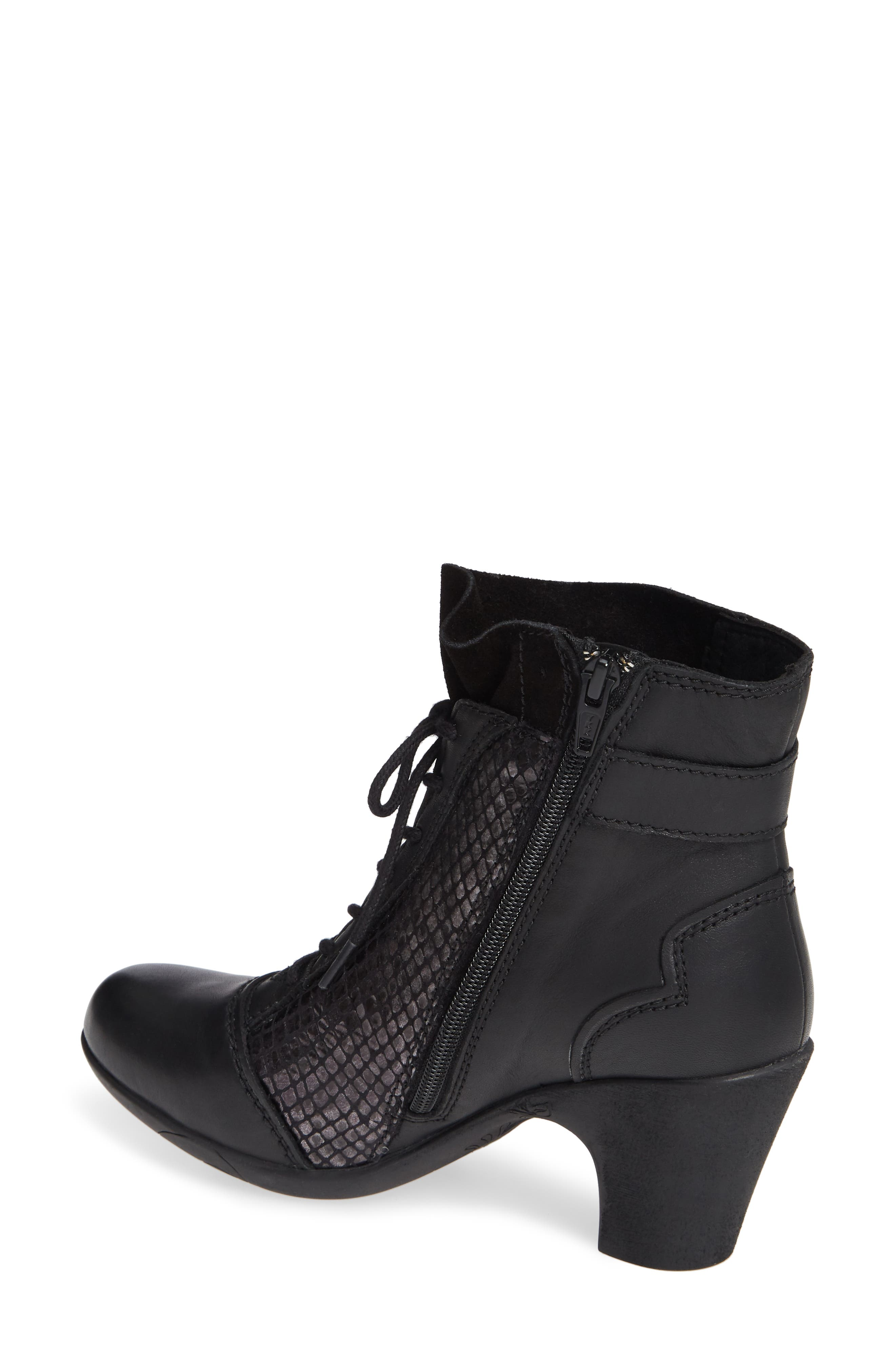 'Jesse' Lace-Up Bootie,                             Alternate thumbnail 2, color,                             BLACK TAIPAN LEATHER
